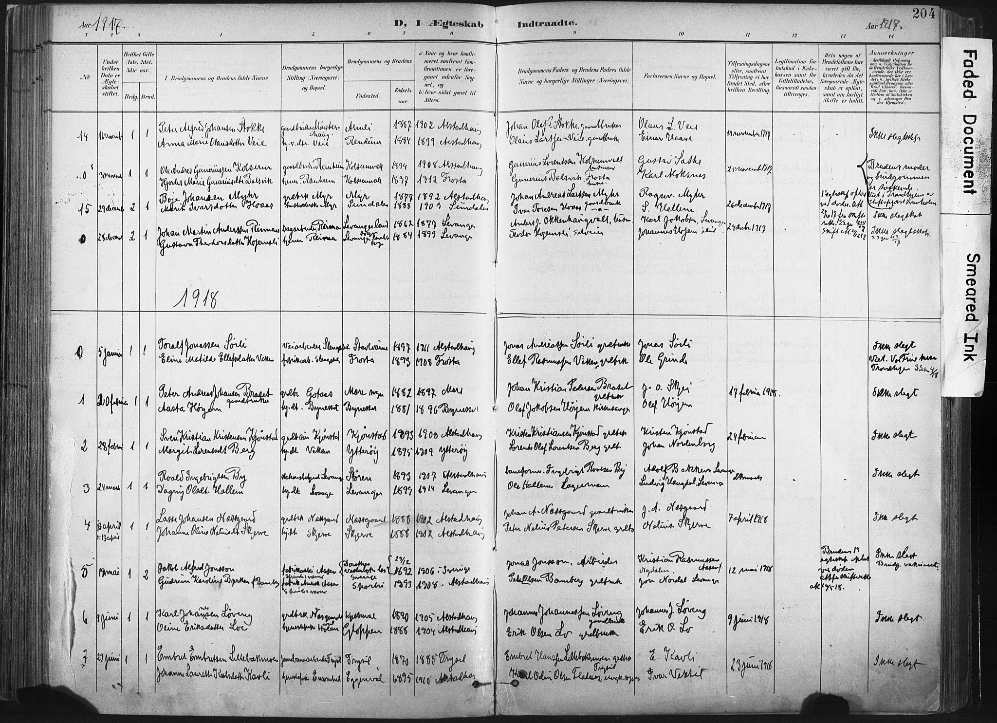 SAT, Ministerialprotokoller, klokkerbøker og fødselsregistre - Nord-Trøndelag, 717/L0162: Ministerialbok nr. 717A12, 1898-1923, s. 204