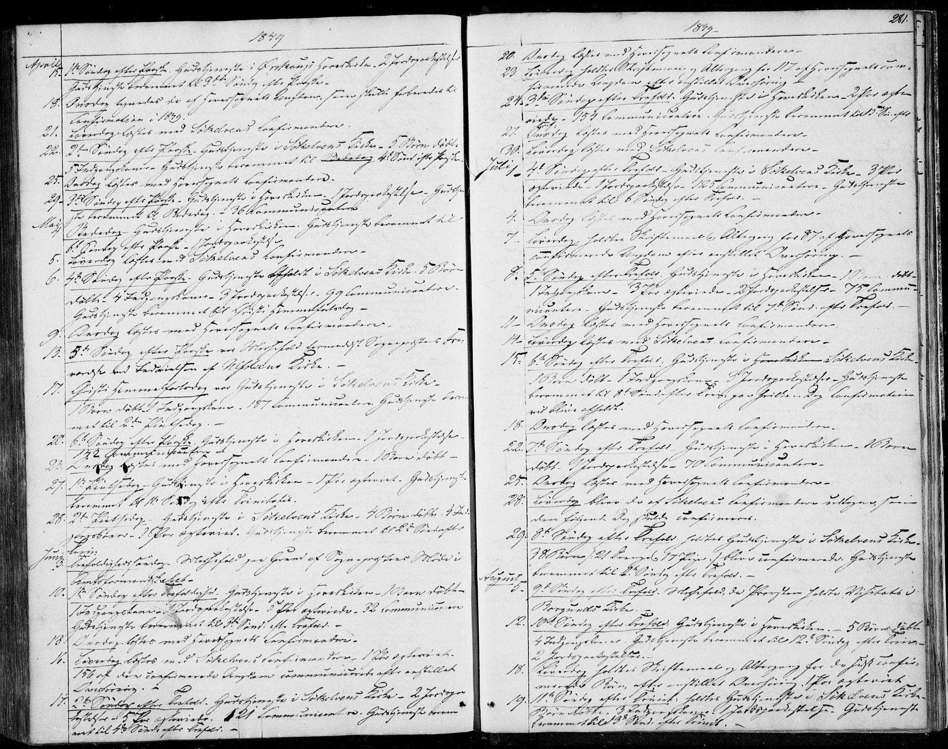 SAT, Ministerialprotokoller, klokkerbøker og fødselsregistre - Møre og Romsdal, 522/L0312: Ministerialbok nr. 522A07, 1843-1851, s. 281