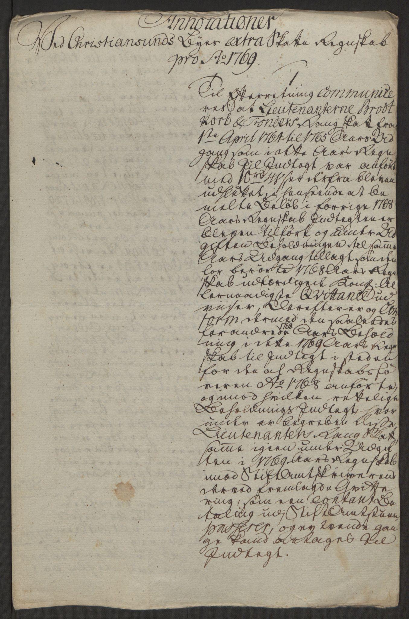 RA, Rentekammeret inntil 1814, Reviderte regnskaper, Byregnskaper, R/Rr/L0495: [R1] Kontribusjonsregnskap, 1762-1772, s. 235