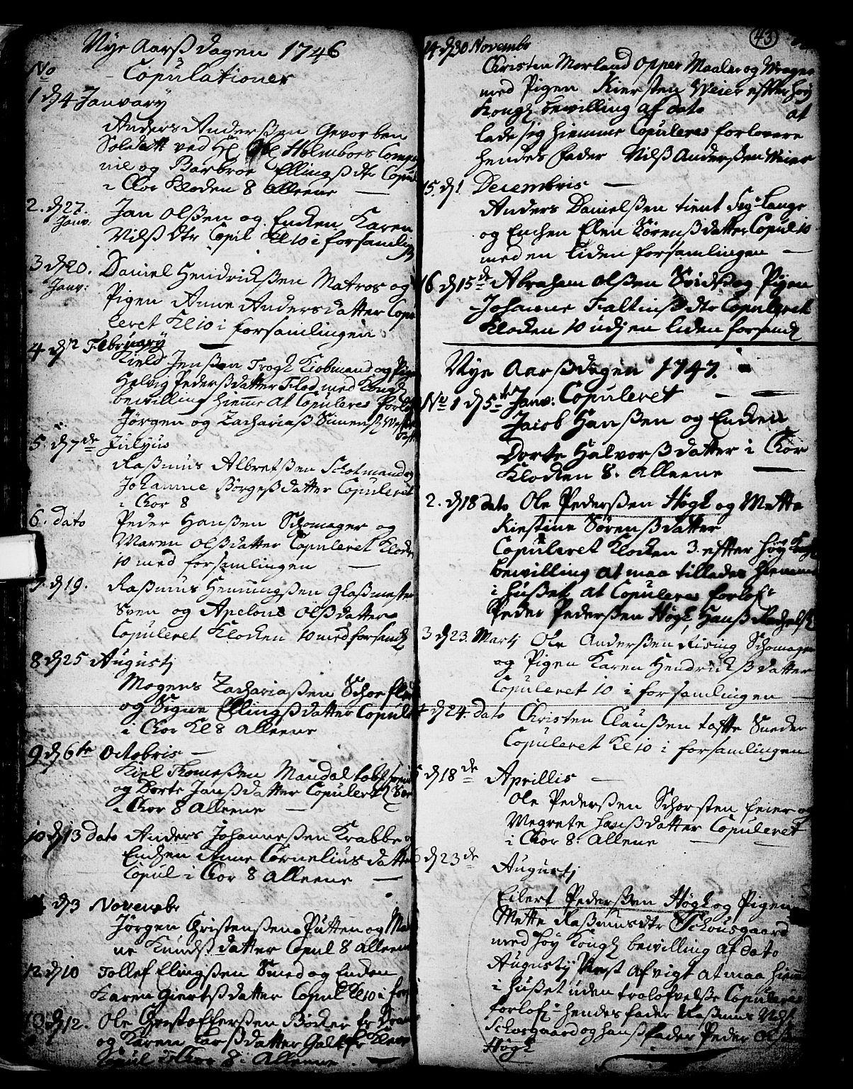 SAKO, Skien kirkebøker, F/Fa/L0002: Ministerialbok nr. 2, 1716-1757, s. 43