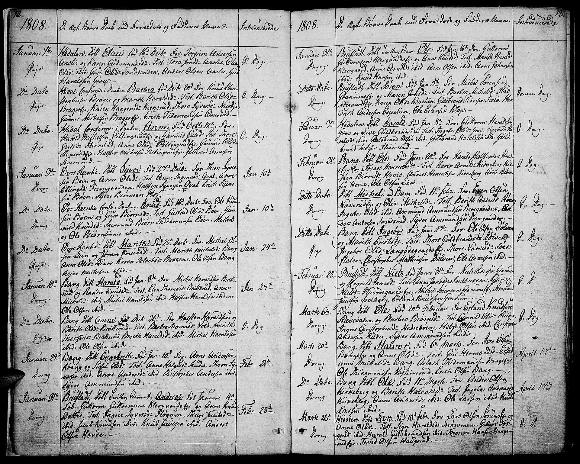SAH, Sør-Aurdal prestekontor, Ministerialbok nr. 1, 1807-1815, s. 12-13