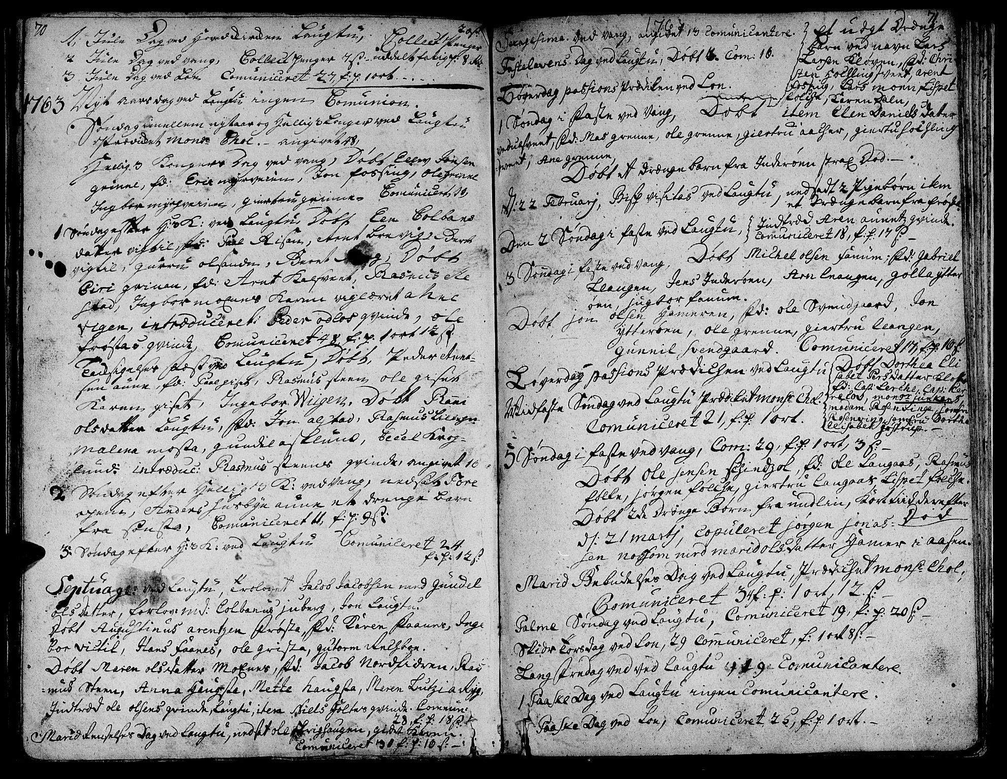 SAT, Ministerialprotokoller, klokkerbøker og fødselsregistre - Nord-Trøndelag, 713/L0109: Ministerialbok nr. 713A01, 1750-1778, s. 70-71