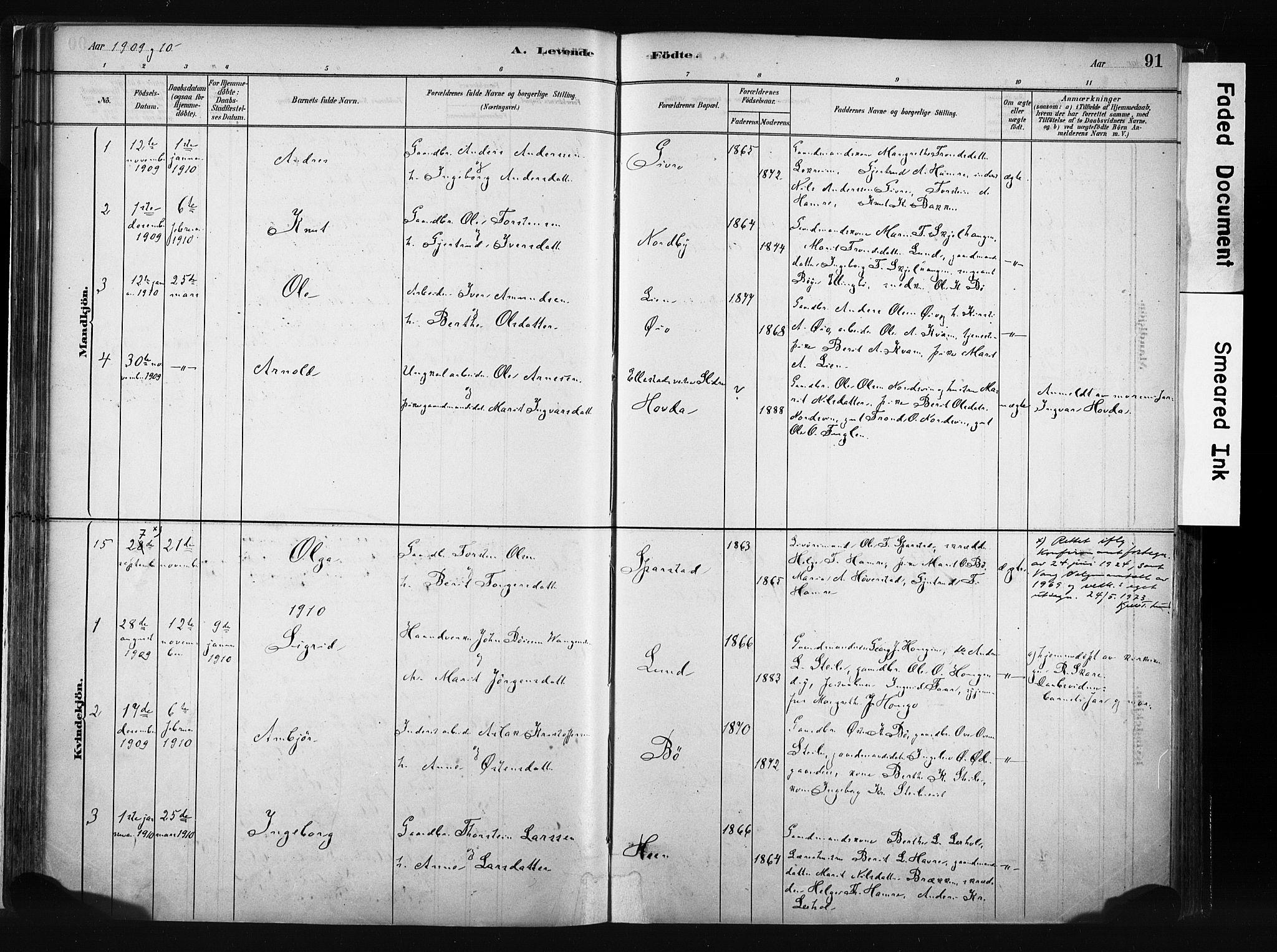 SAH, Vang prestekontor, Valdres, Ministerialbok nr. 8, 1882-1910, s. 91