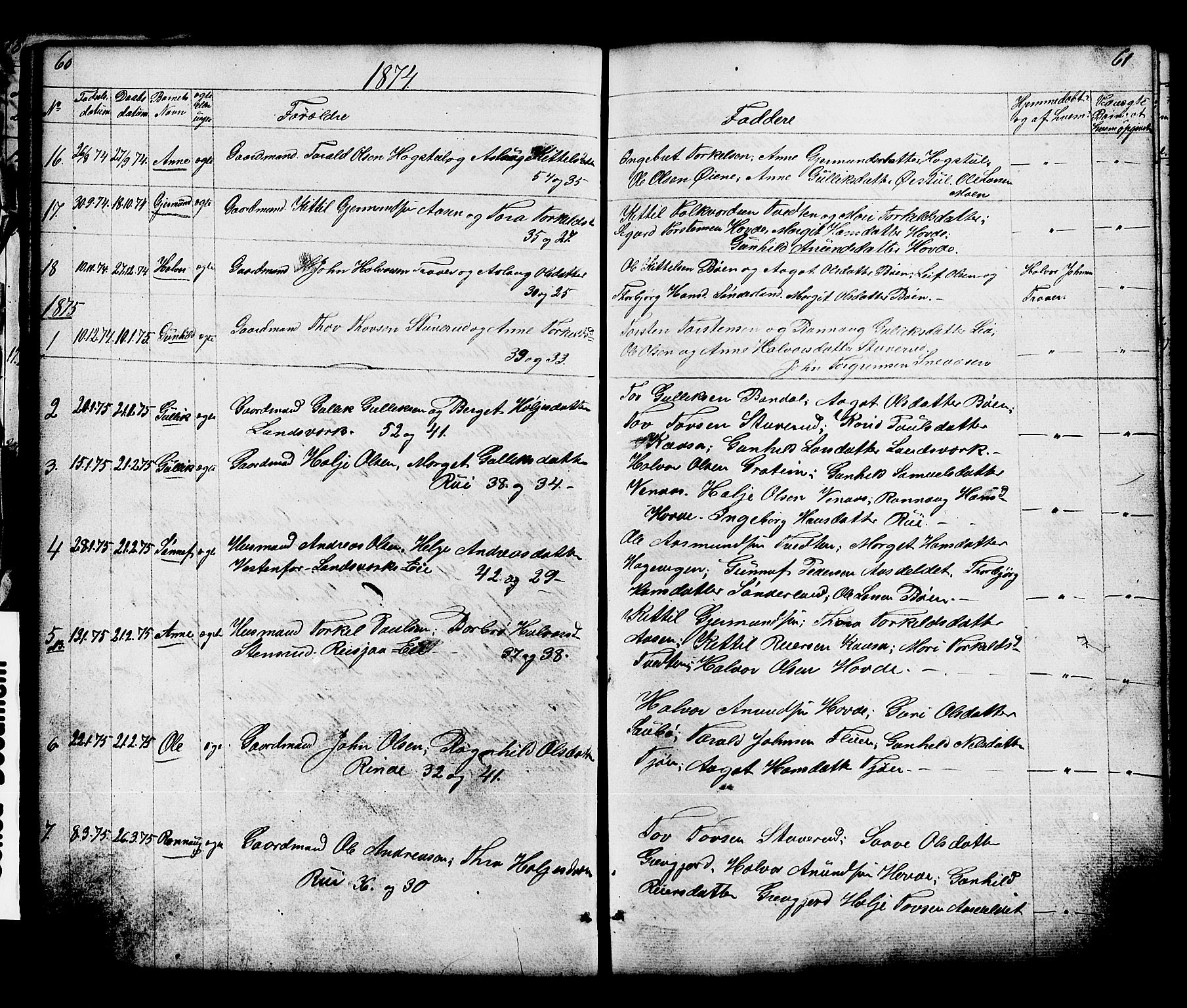 SAKO, Hjartdal kirkebøker, G/Gc/L0002: Klokkerbok nr. III 2, 1854-1890, s. 60-61