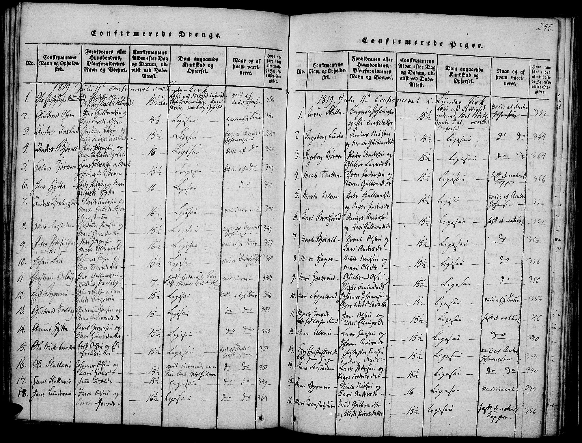 SAH, Jevnaker prestekontor, Ministerialbok nr. 5, 1815-1837, s. 245