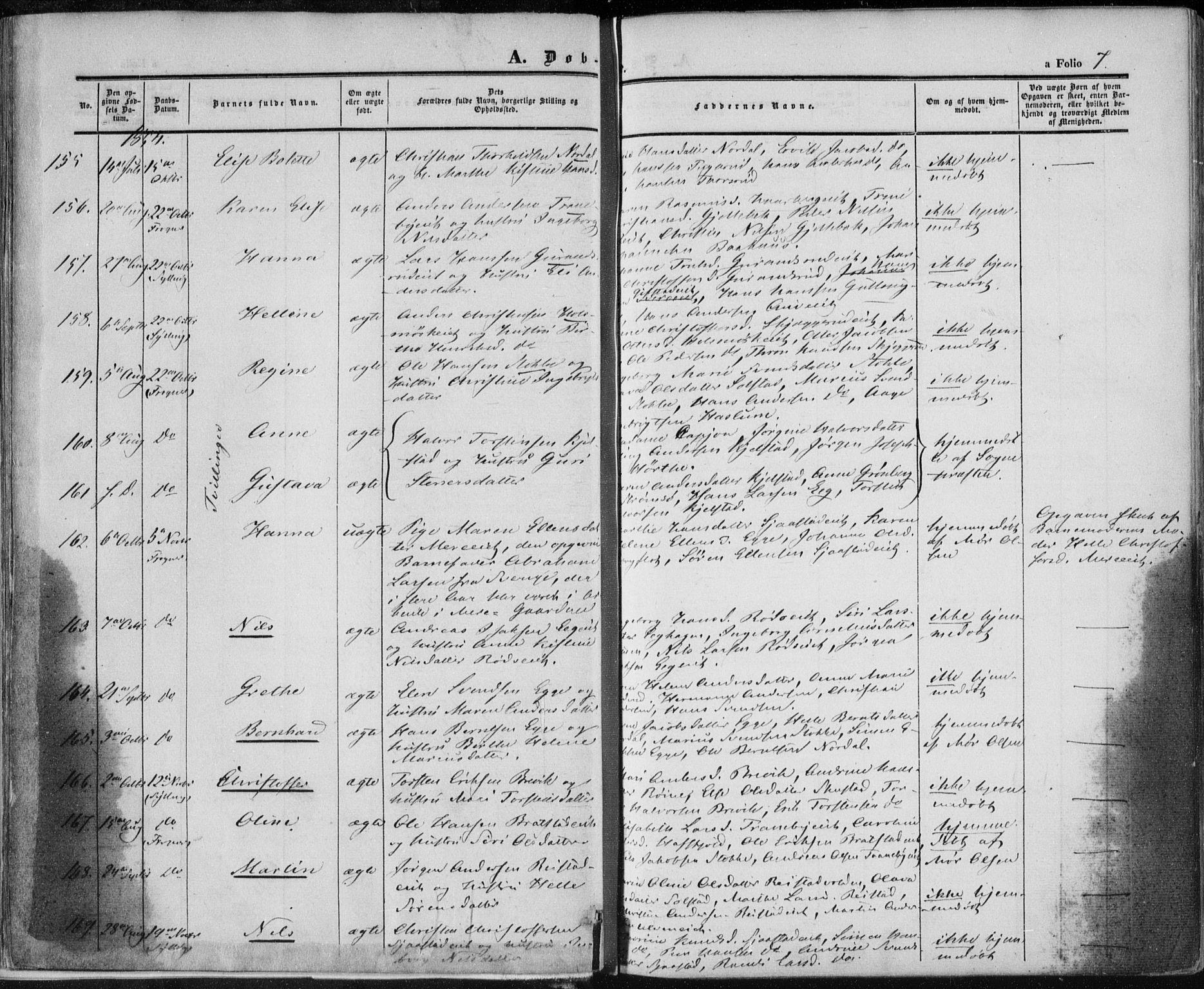 SAKO, Lier kirkebøker, F/Fa/L0012: Ministerialbok nr. I 12, 1854-1864, s. 7