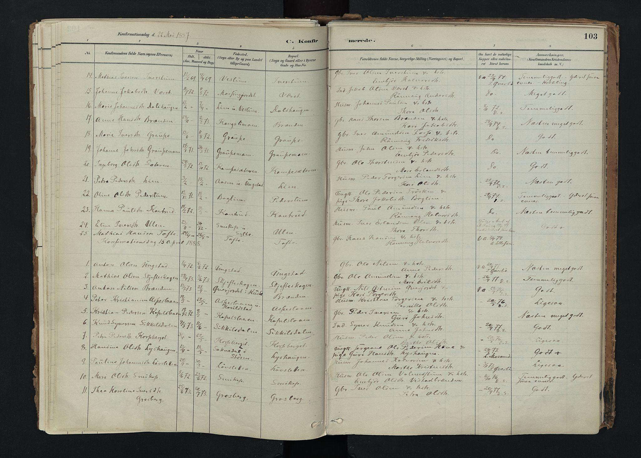 SAH, Nord-Fron prestekontor, Ministerialbok nr. 5, 1884-1914, s. 103