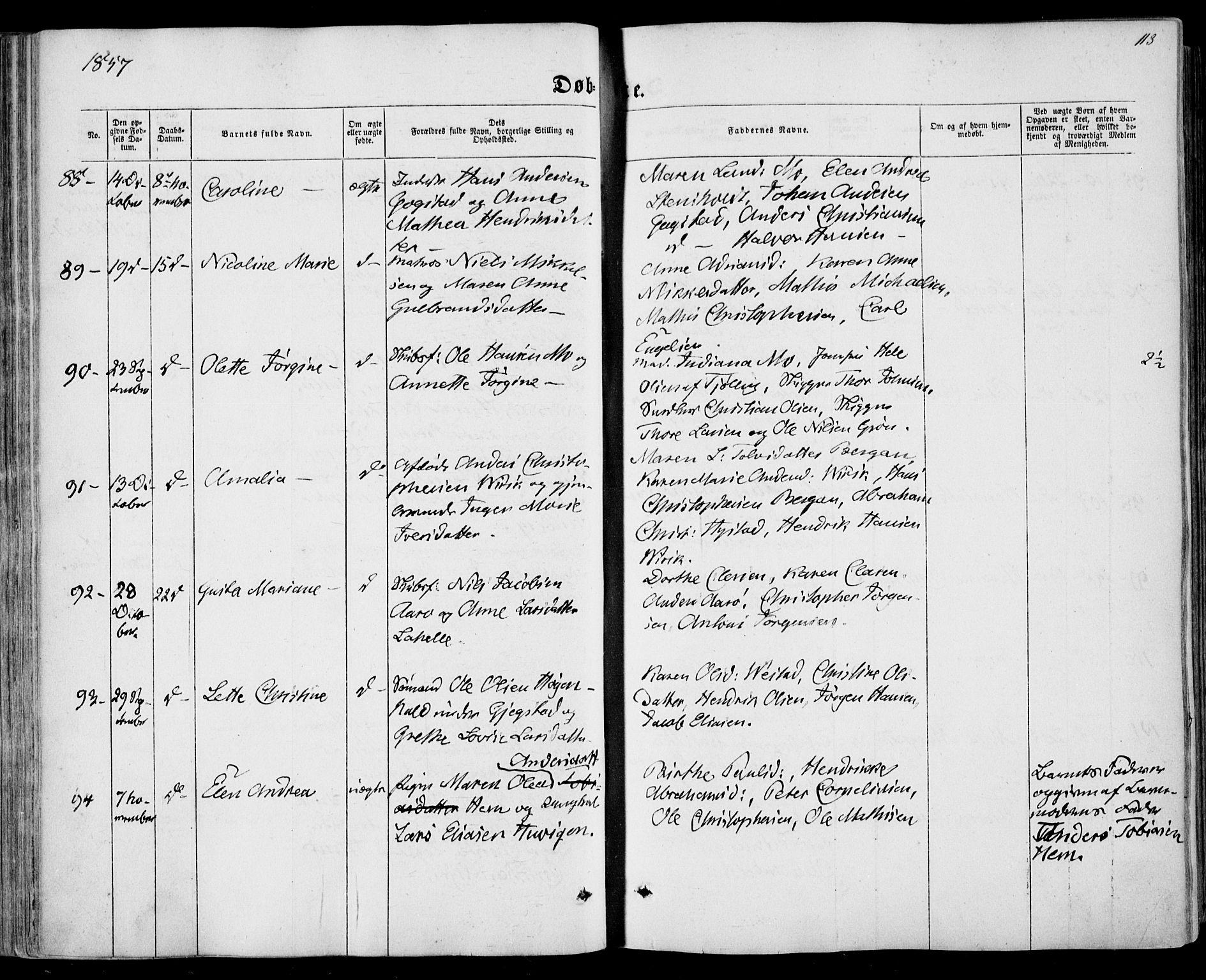 SAKO, Sandar kirkebøker, F/Fa/L0007: Ministerialbok nr. 7, 1855-1861, s. 113