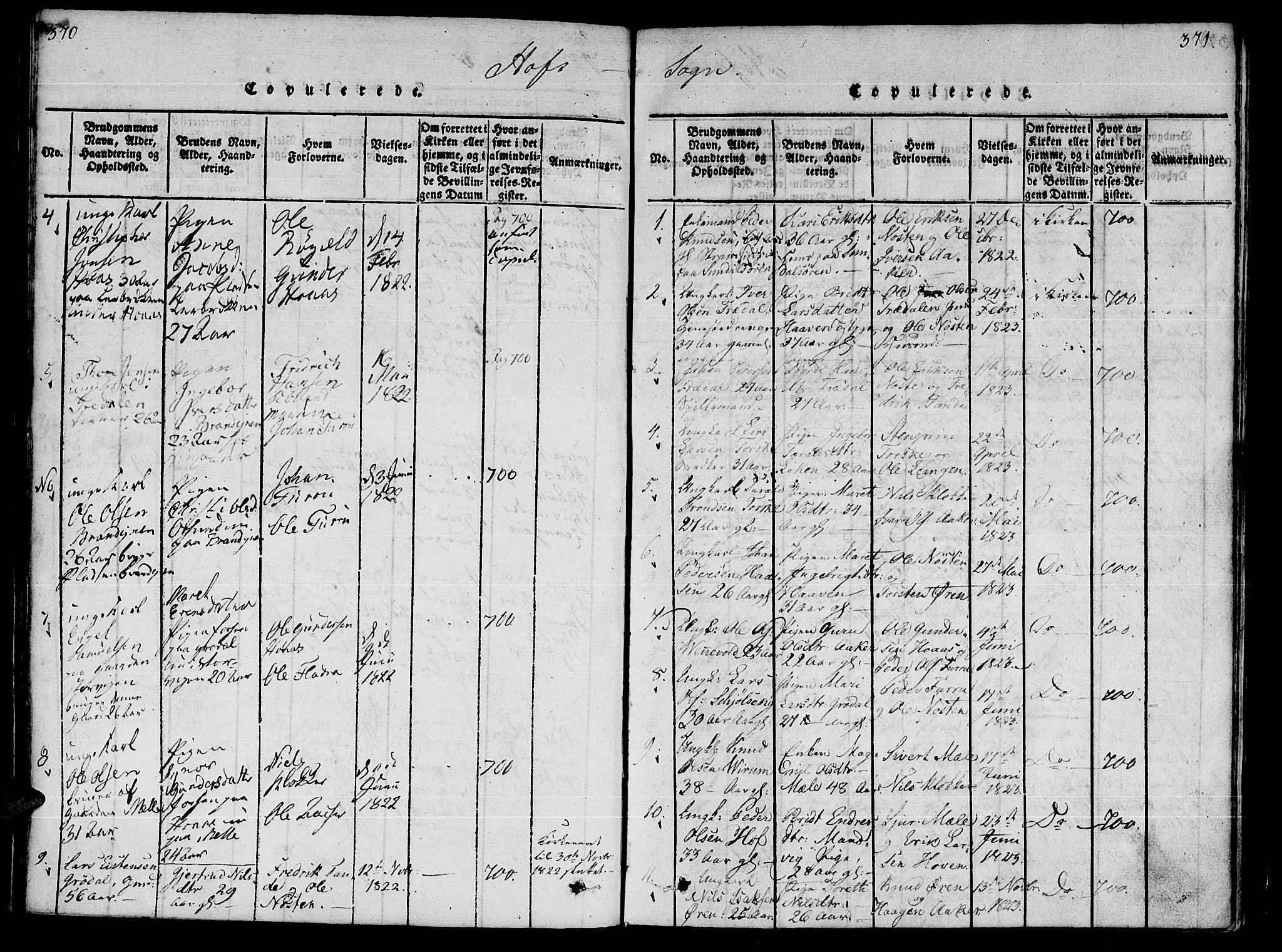 SAT, Ministerialprotokoller, klokkerbøker og fødselsregistre - Møre og Romsdal, 590/L1009: Ministerialbok nr. 590A03 /1, 1819-1832, s. 370-371