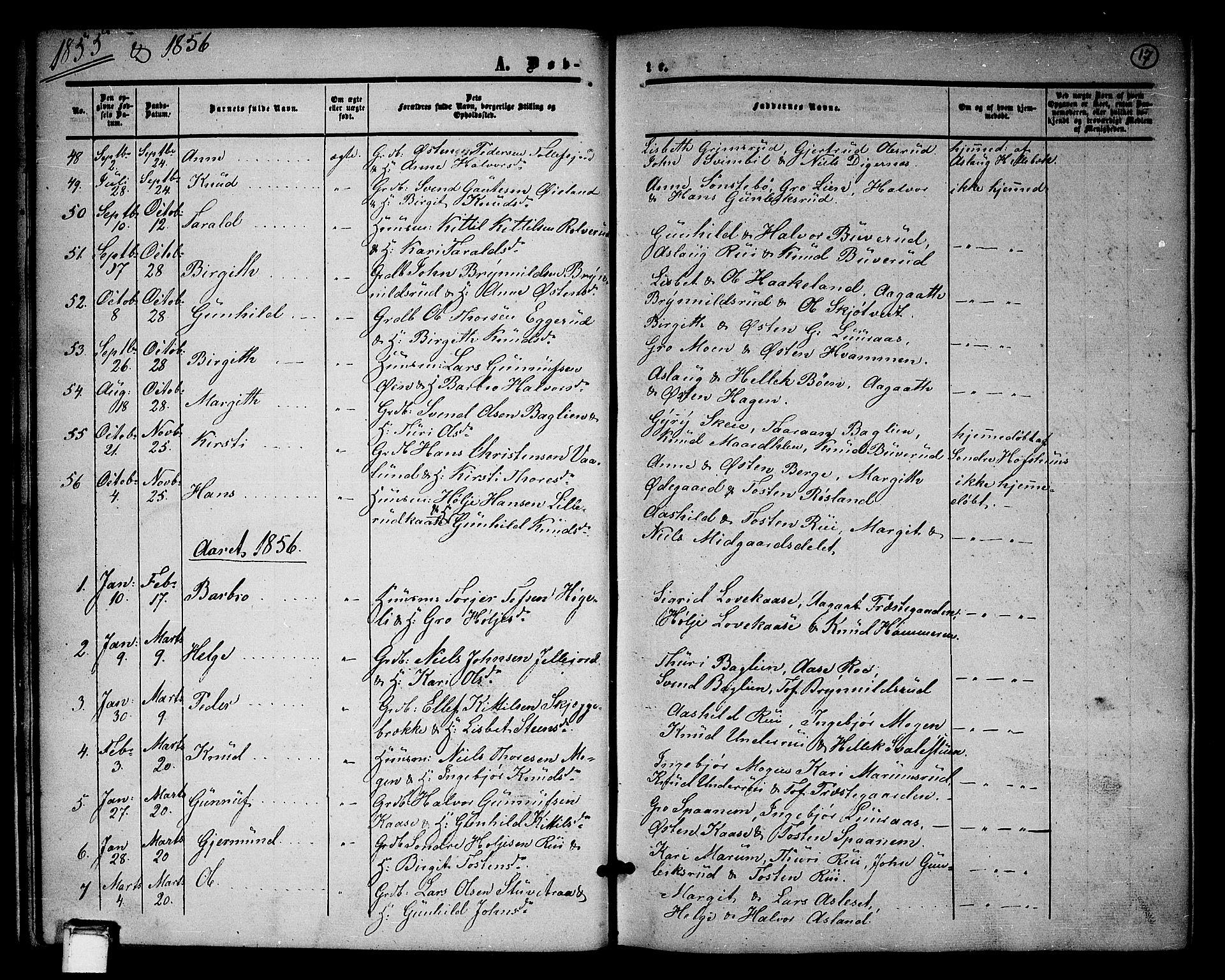 SAKO, Tinn kirkebøker, G/Ga/L0002: Klokkerbok nr. I 2, 1851-1883, s. 17