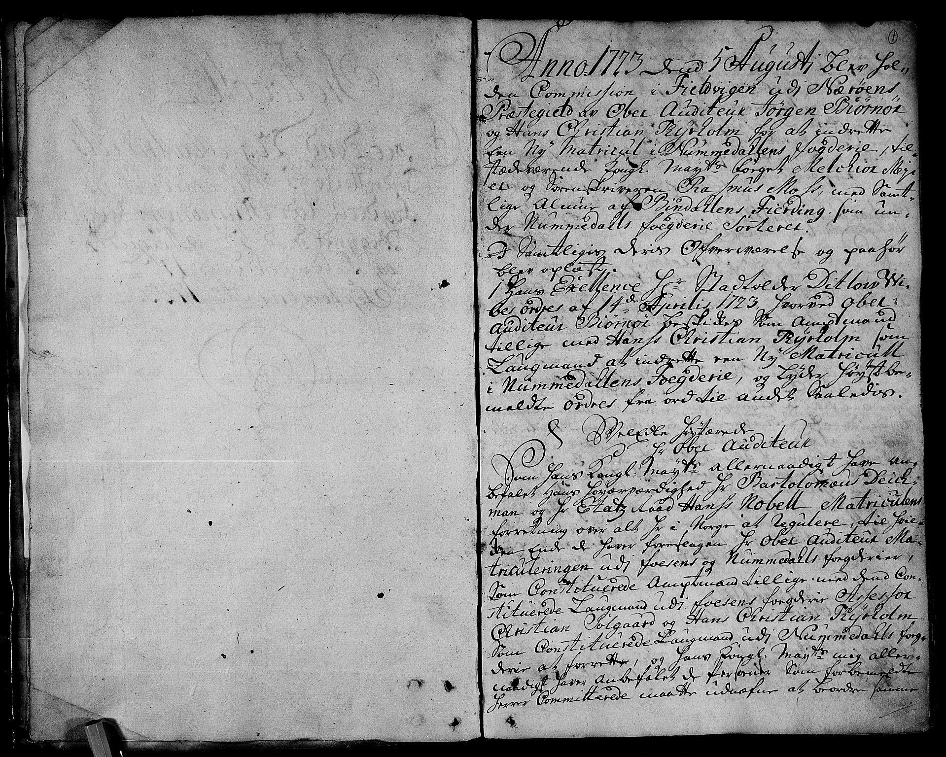 RA, Rentekammeret inntil 1814, Realistisk ordnet avdeling, N/Nb/Nbf/L0168: Namdalen eksaminasjonsprotokoll, 1723, s. 1a