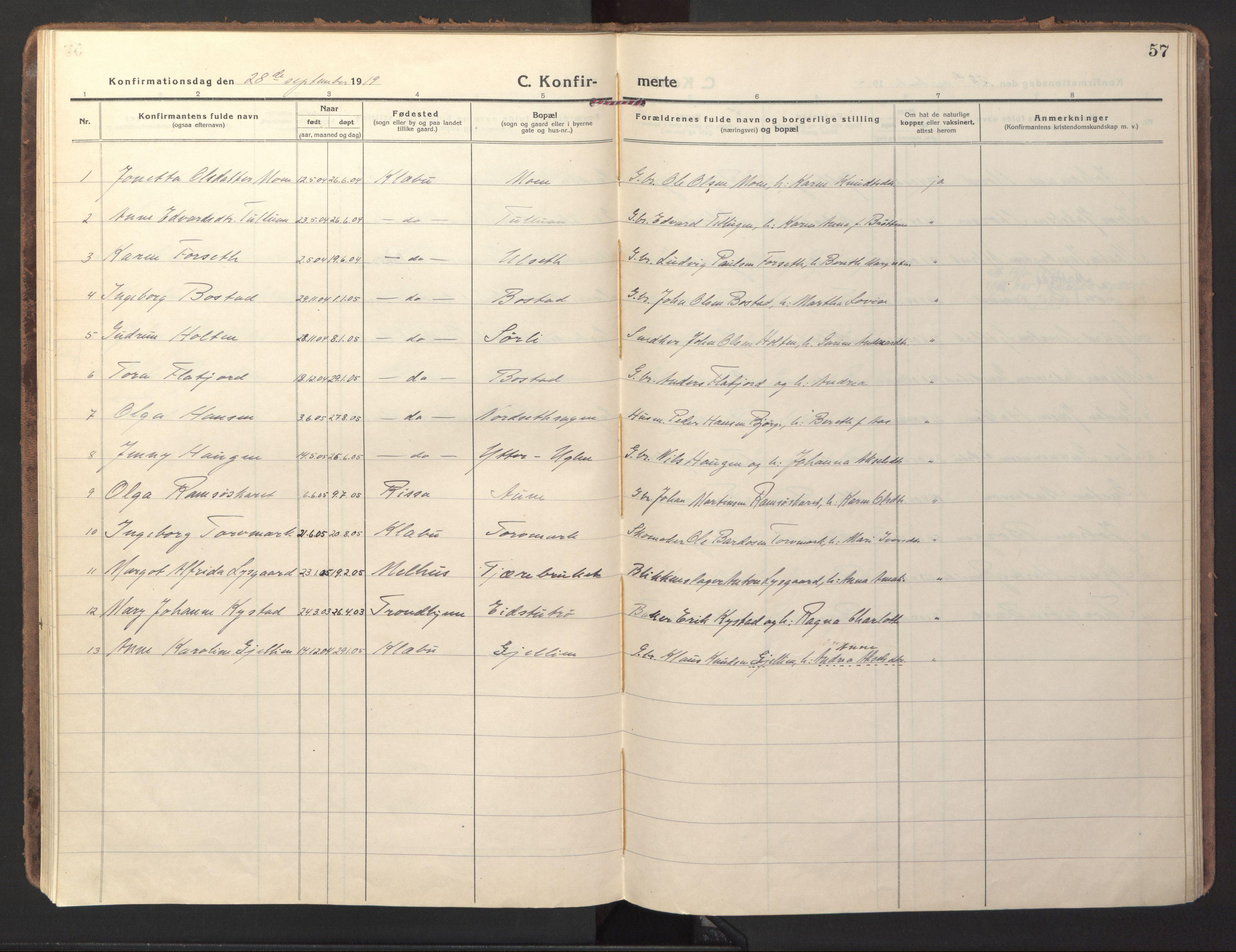 SAT, Ministerialprotokoller, klokkerbøker og fødselsregistre - Sør-Trøndelag, 618/L0449: Ministerialbok nr. 618A12, 1917-1924, s. 57