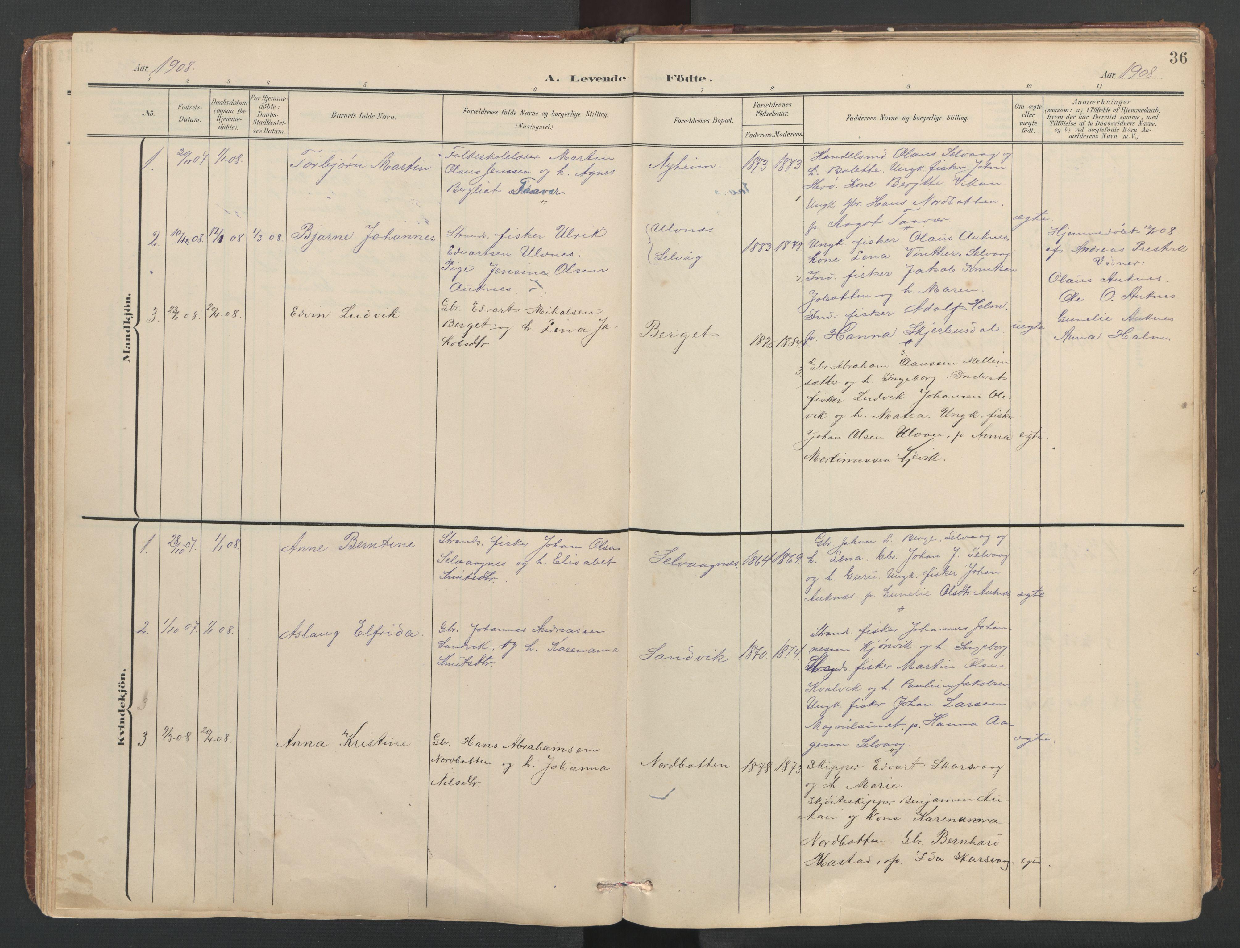 SAT, Ministerialprotokoller, klokkerbøker og fødselsregistre - Sør-Trøndelag, 638/L0571: Klokkerbok nr. 638C03, 1901-1930, s. 36
