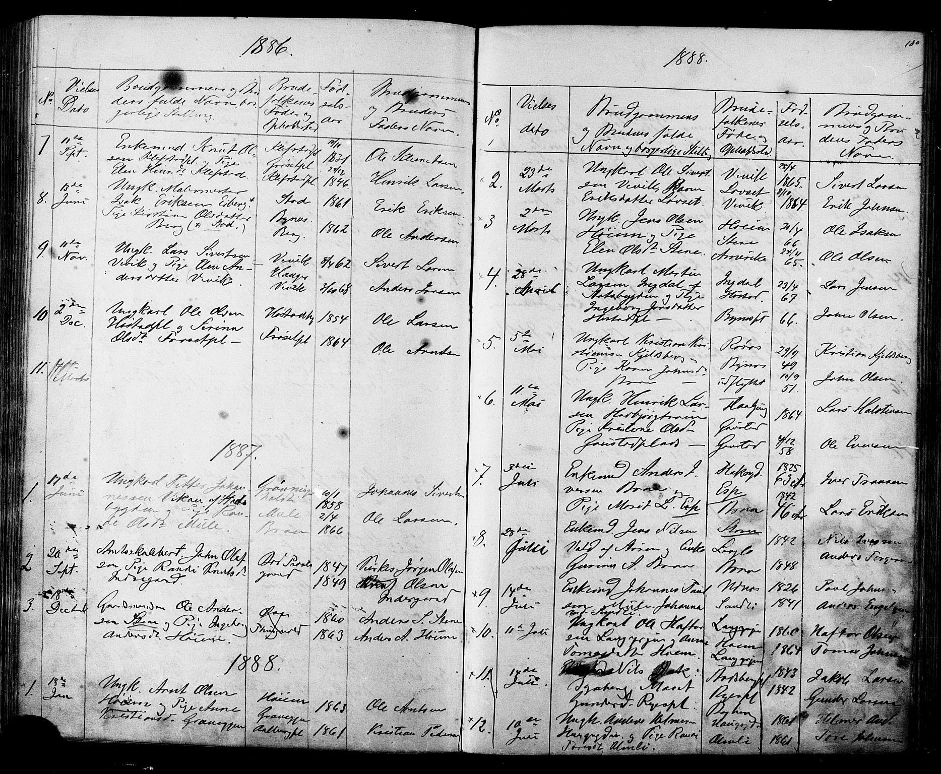 SAT, Ministerialprotokoller, klokkerbøker og fødselsregistre - Sør-Trøndelag, 612/L0387: Klokkerbok nr. 612C03, 1874-1908, s. 180