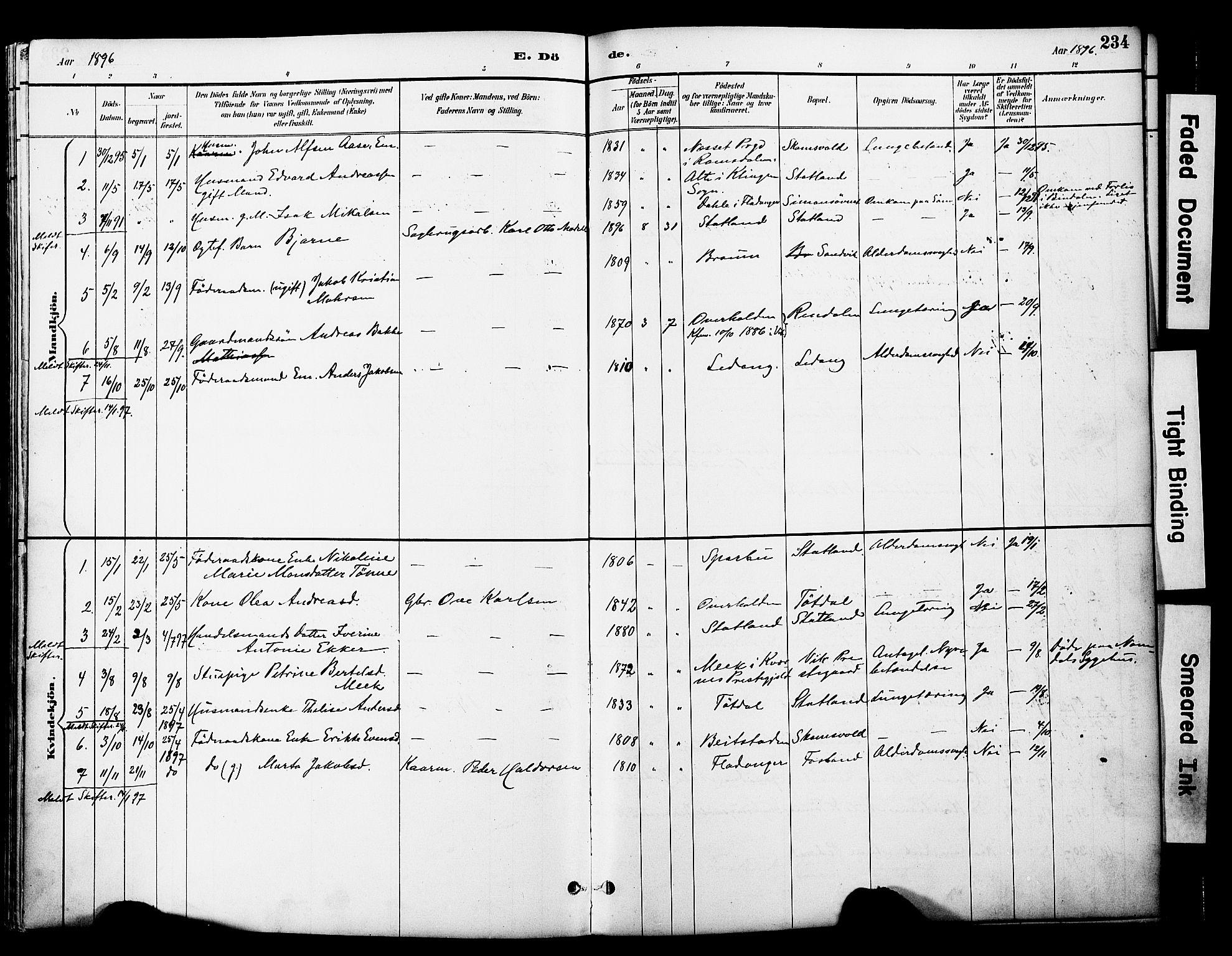 SAT, Ministerialprotokoller, klokkerbøker og fødselsregistre - Nord-Trøndelag, 774/L0628: Ministerialbok nr. 774A02, 1887-1903, s. 234