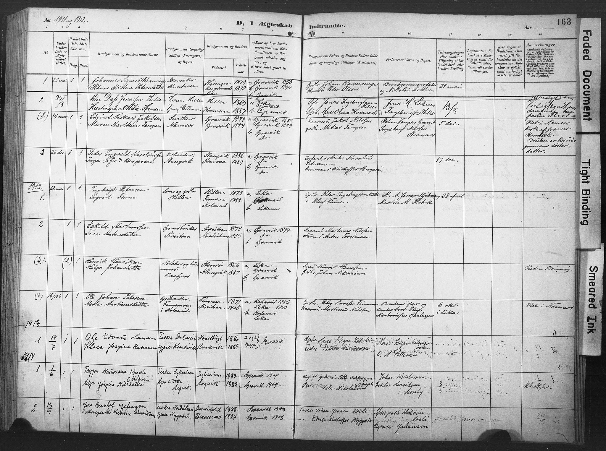 SAT, Ministerialprotokoller, klokkerbøker og fødselsregistre - Nord-Trøndelag, 789/L0706: Klokkerbok nr. 789C01, 1888-1931, s. 163