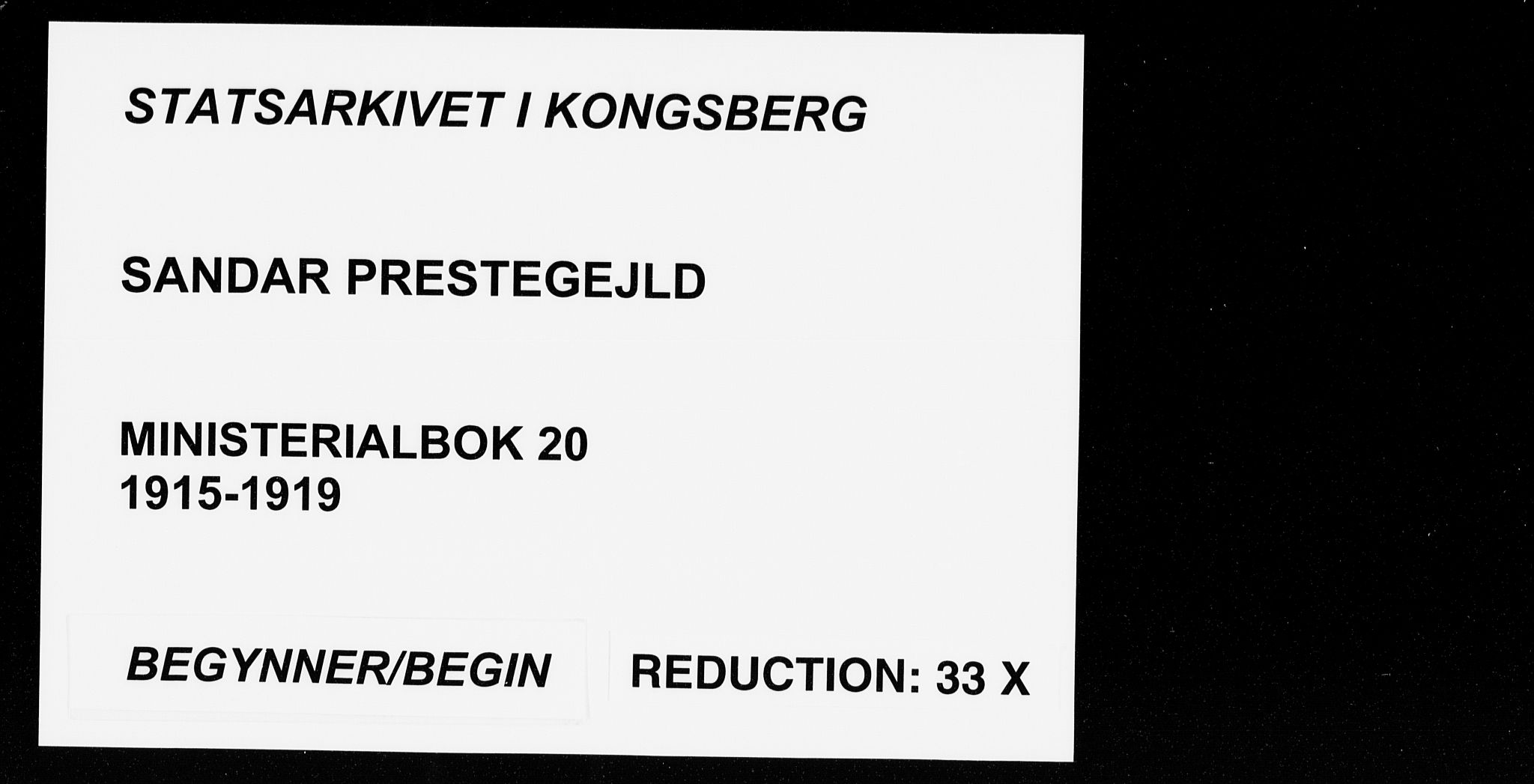 SAKO, Sandar kirkebøker, F/Fa/L0020: Ministerialbok nr. 20, 1915-1919