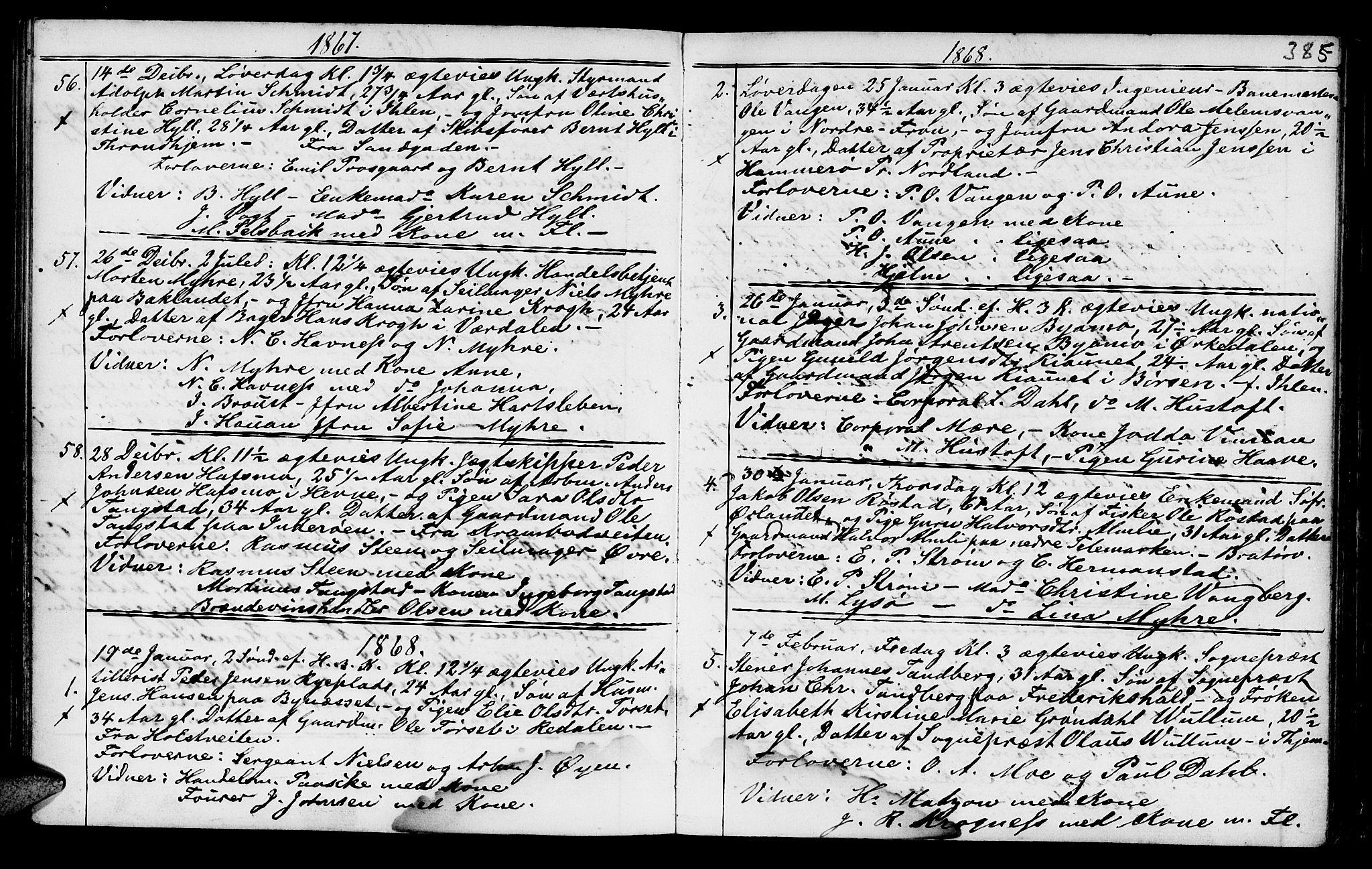 SAT, Ministerialprotokoller, klokkerbøker og fødselsregistre - Sør-Trøndelag, 602/L0140: Klokkerbok nr. 602C08, 1864-1872, s. 384-385