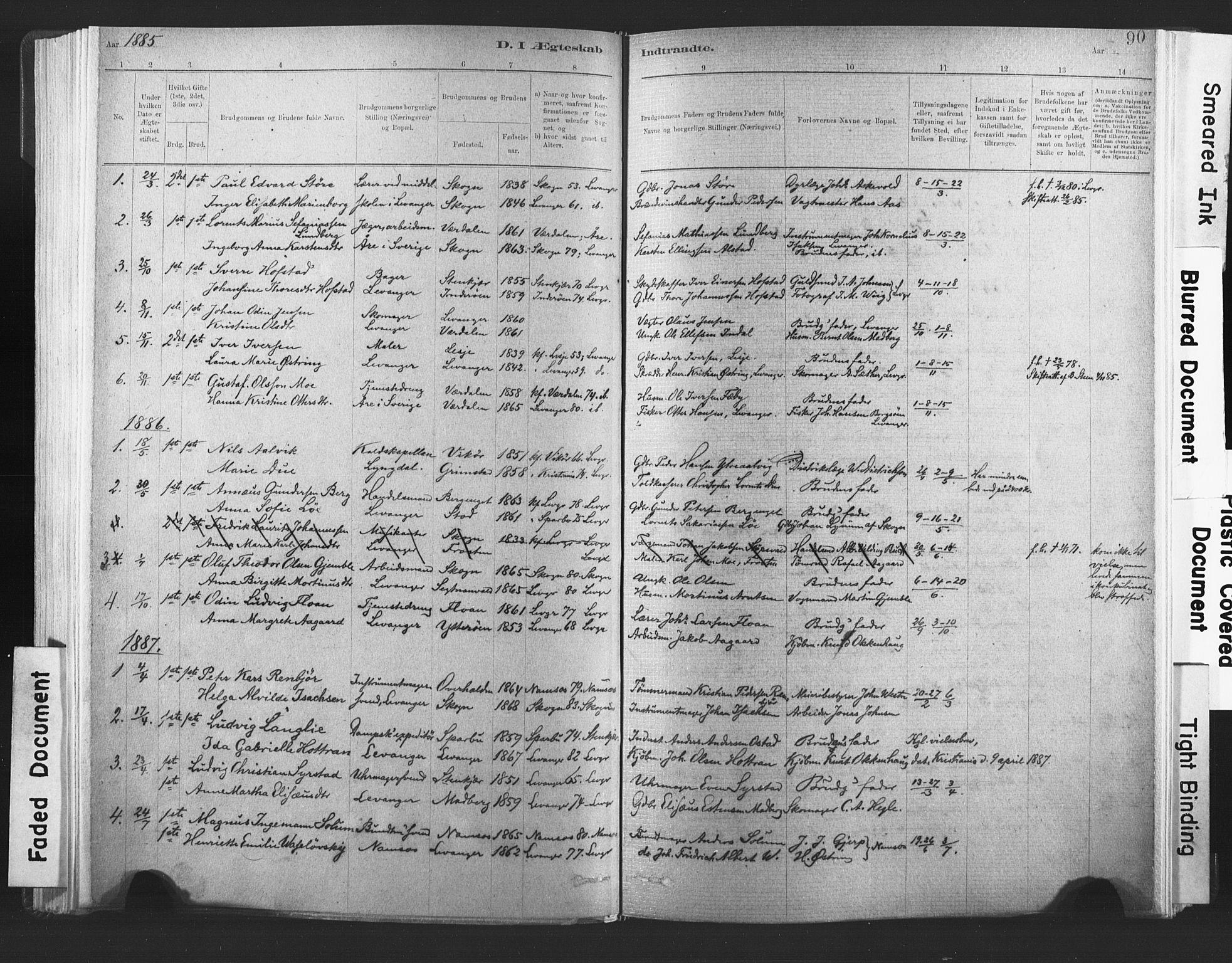 SAT, Ministerialprotokoller, klokkerbøker og fødselsregistre - Nord-Trøndelag, 720/L0189: Ministerialbok nr. 720A05, 1880-1911, s. 90