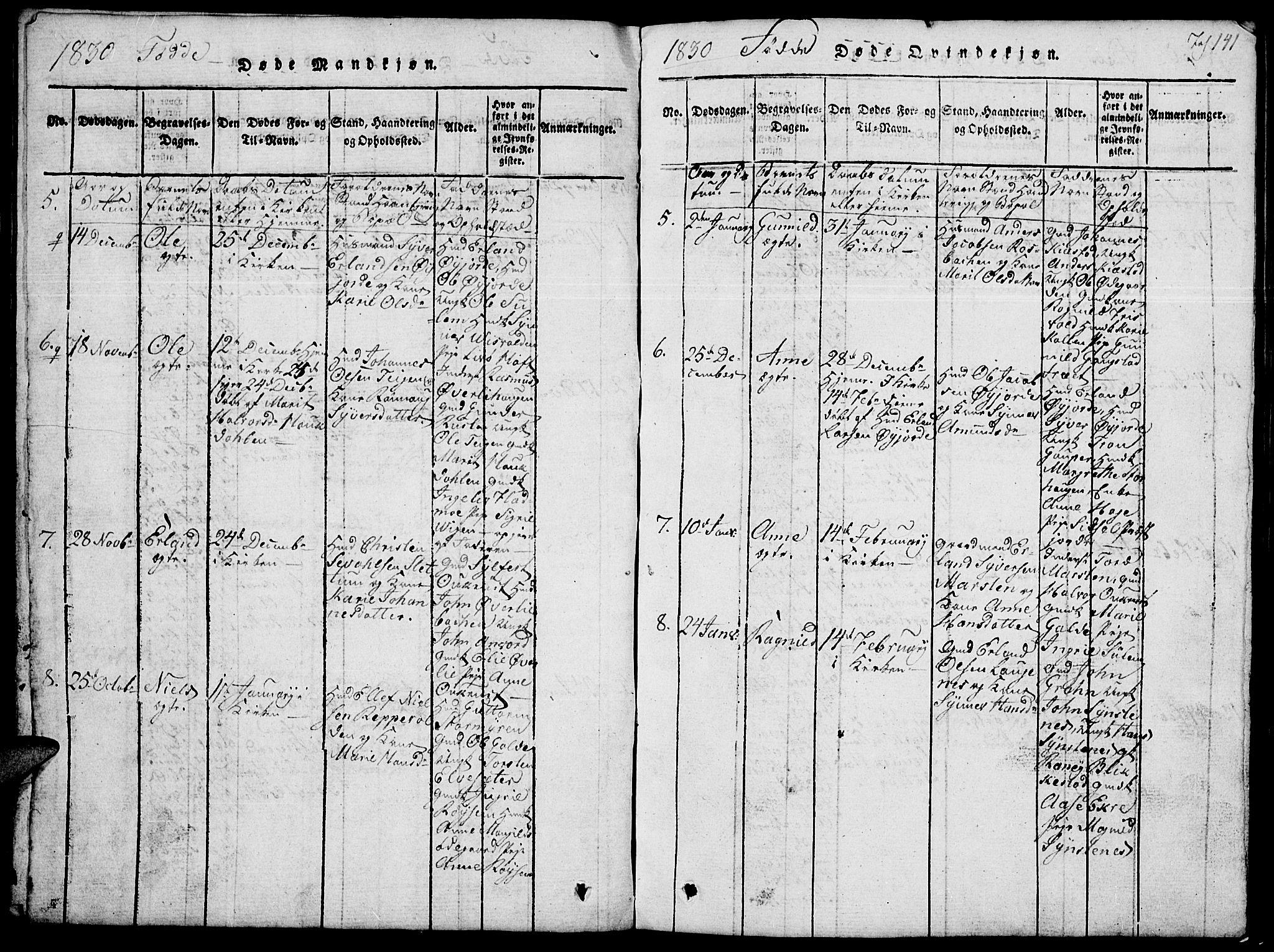 SAH, Lom prestekontor, L/L0001: Klokkerbok nr. 1, 1815-1836, s. 141