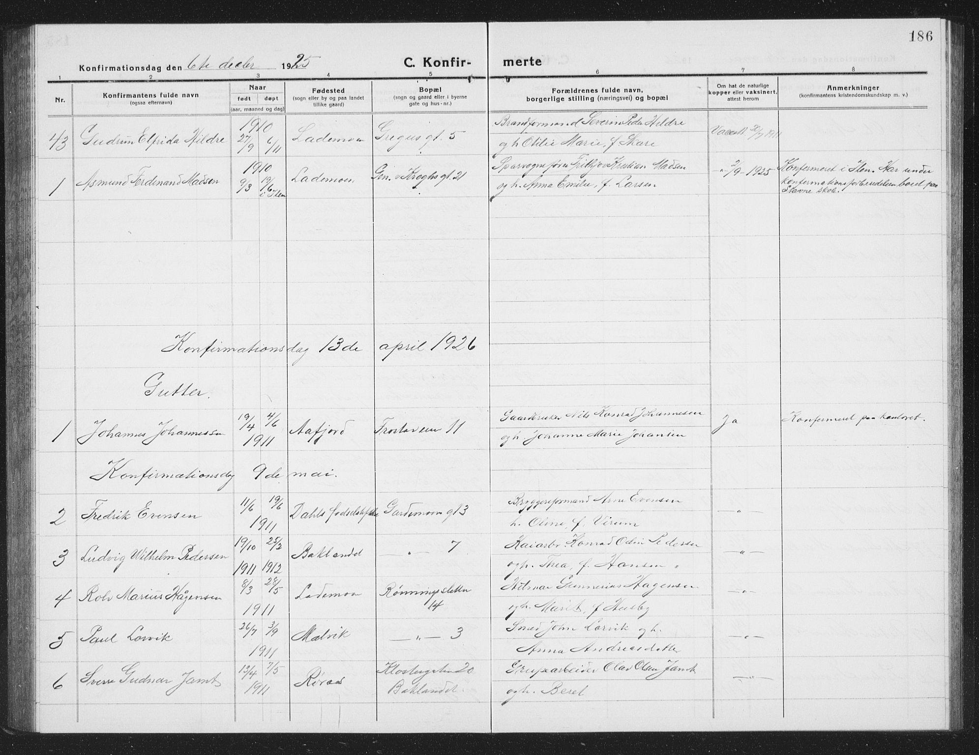 SAT, Ministerialprotokoller, klokkerbøker og fødselsregistre - Sør-Trøndelag, 605/L0258: Klokkerbok nr. 605C05, 1918-1930, s. 186