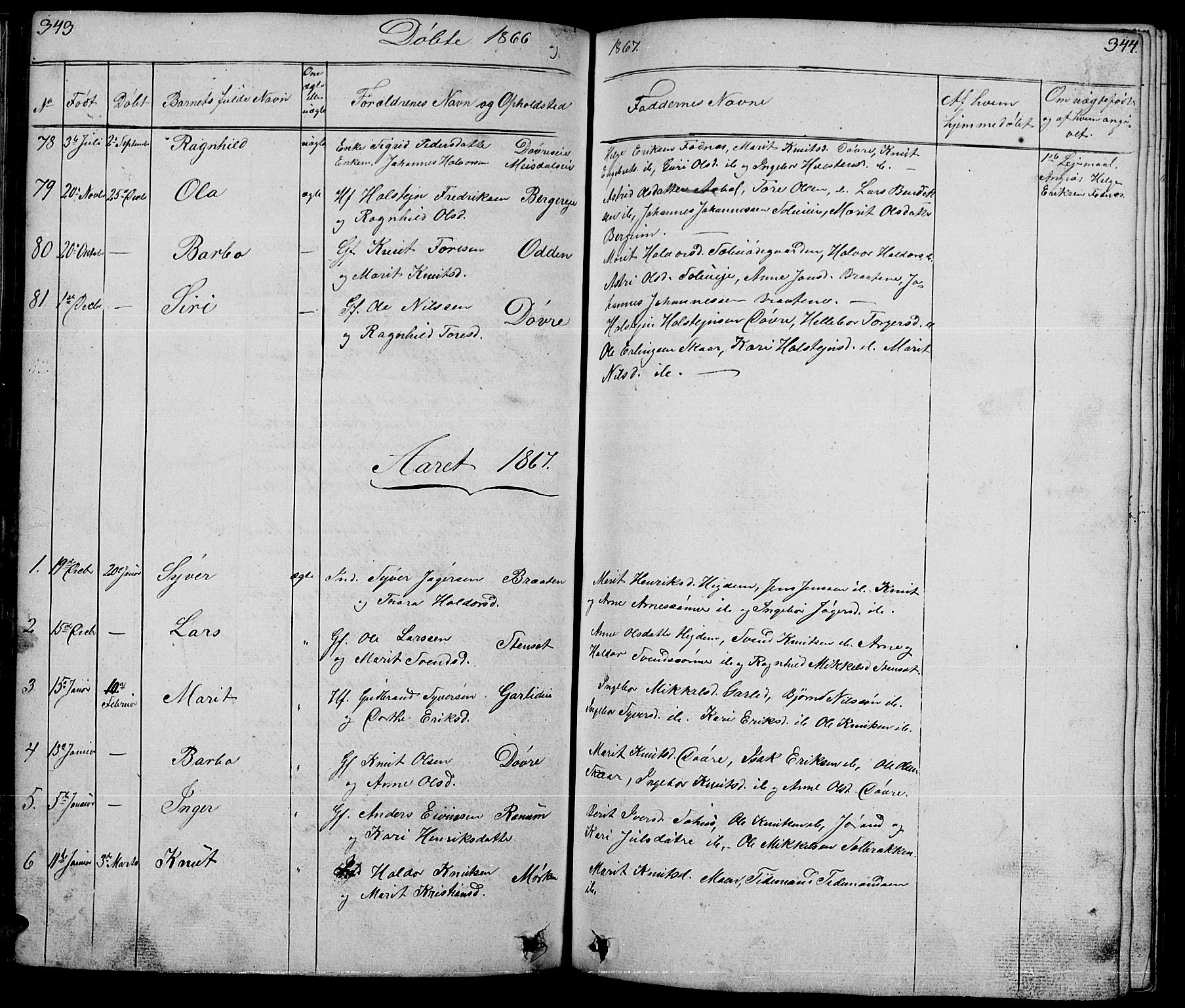 SAH, Nord-Aurdal prestekontor, Klokkerbok nr. 1, 1834-1887, s. 343-344
