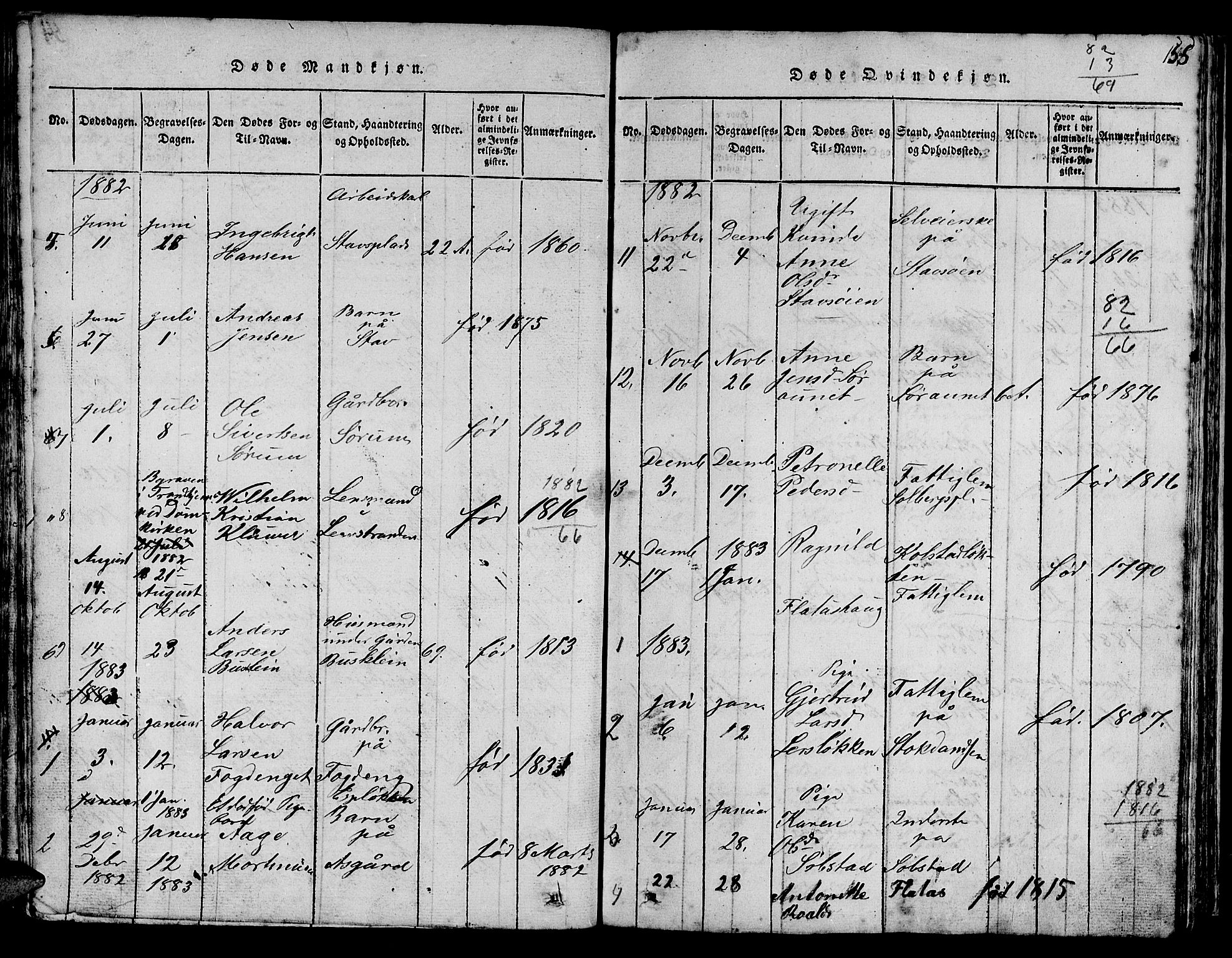 SAT, Ministerialprotokoller, klokkerbøker og fødselsregistre - Sør-Trøndelag, 613/L0393: Klokkerbok nr. 613C01, 1816-1886, s. 155