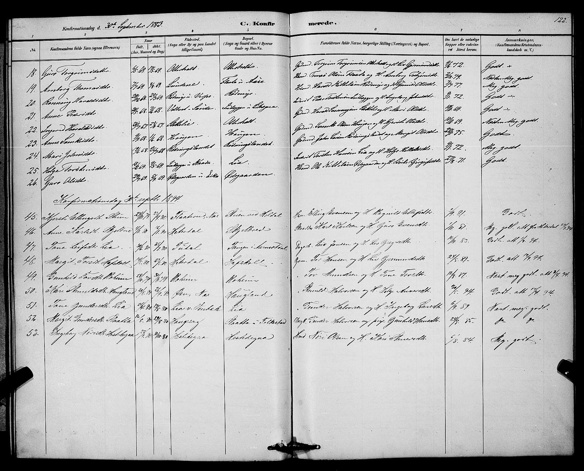 SAKO, Bø kirkebøker, G/Ga/L0005: Klokkerbok nr. 5, 1883-1897, s. 122