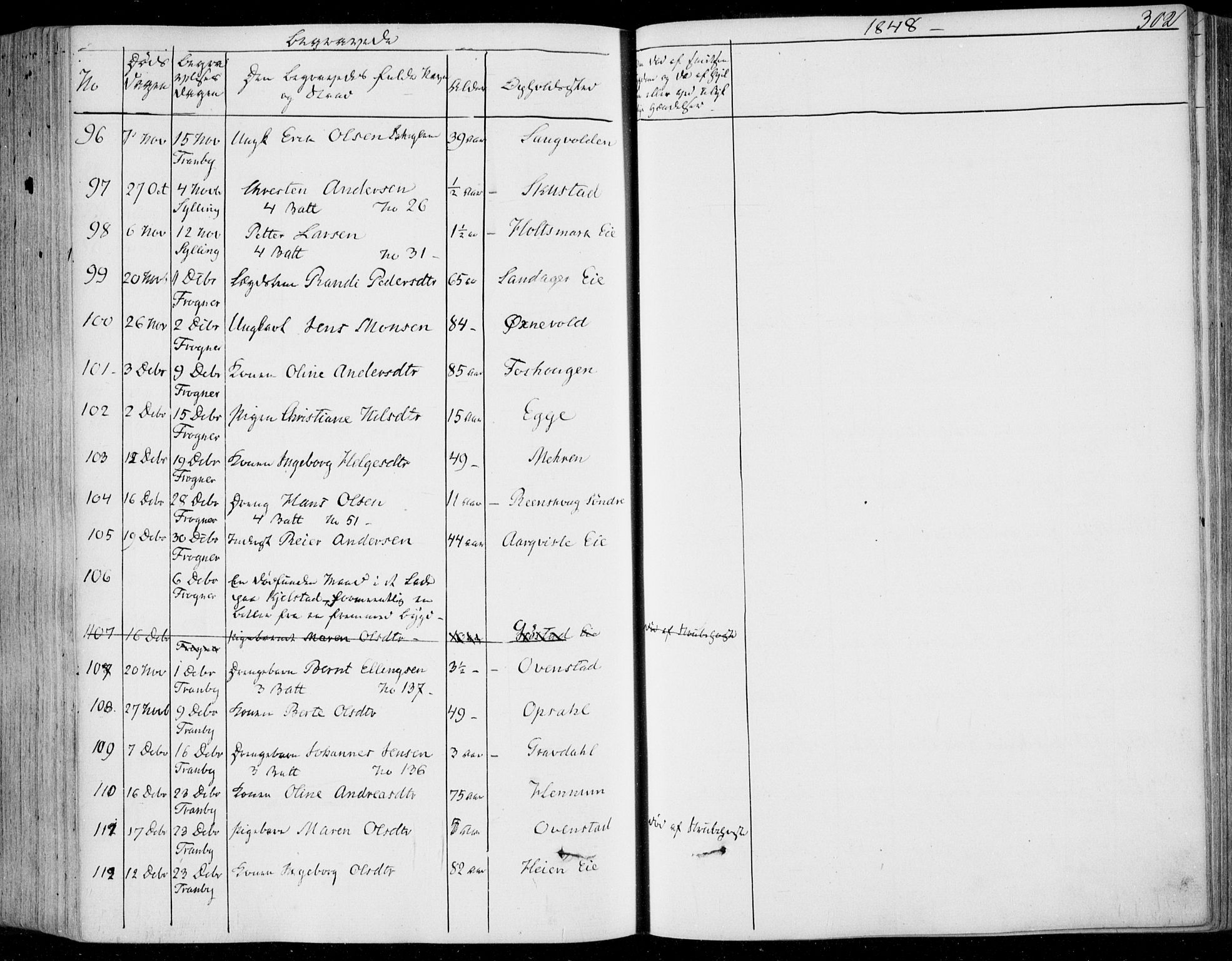 SAKO, Lier kirkebøker, F/Fa/L0011: Ministerialbok nr. I 11, 1843-1854, s. 302