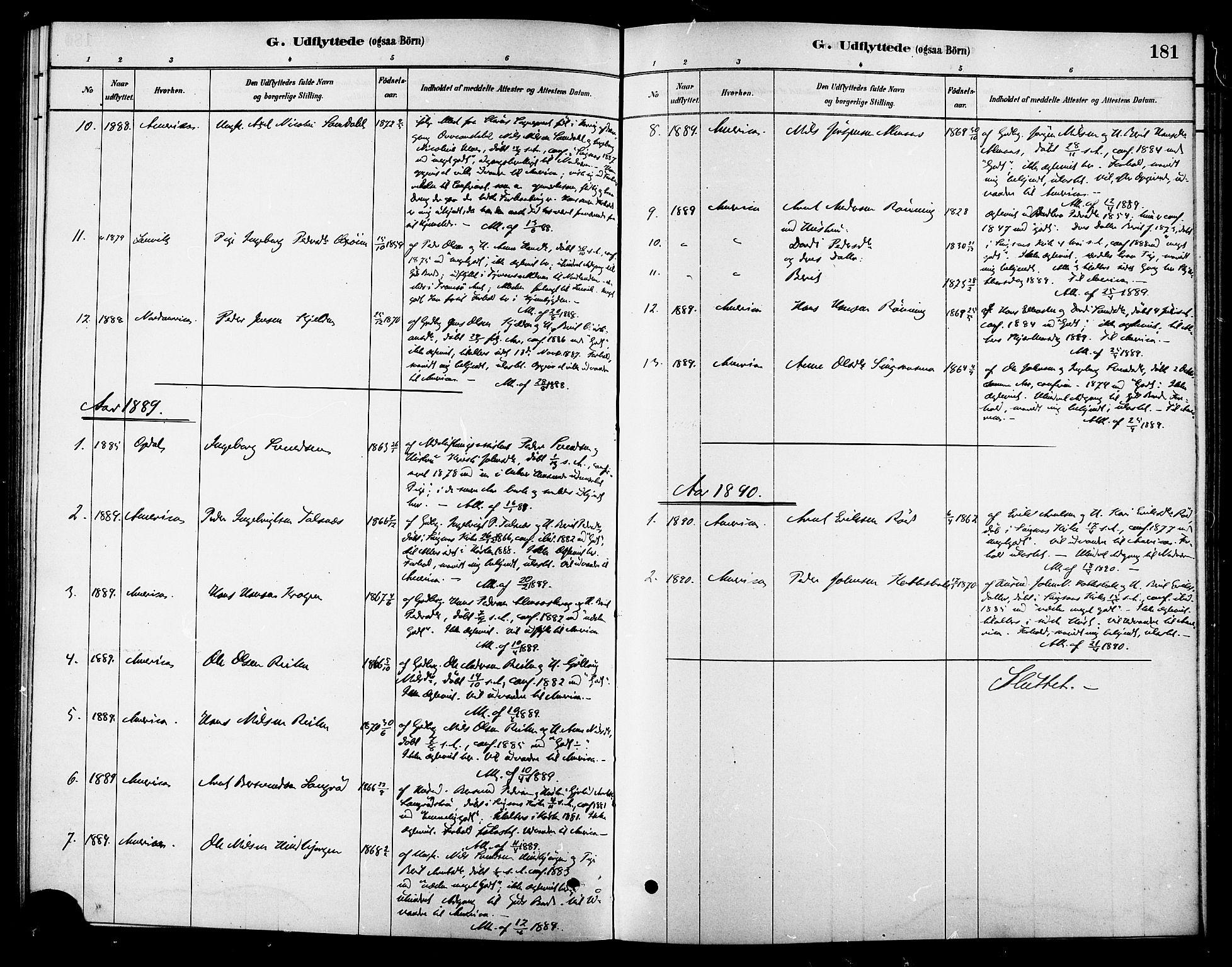 SAT, Ministerialprotokoller, klokkerbøker og fødselsregistre - Sør-Trøndelag, 688/L1024: Ministerialbok nr. 688A01, 1879-1890, s. 181
