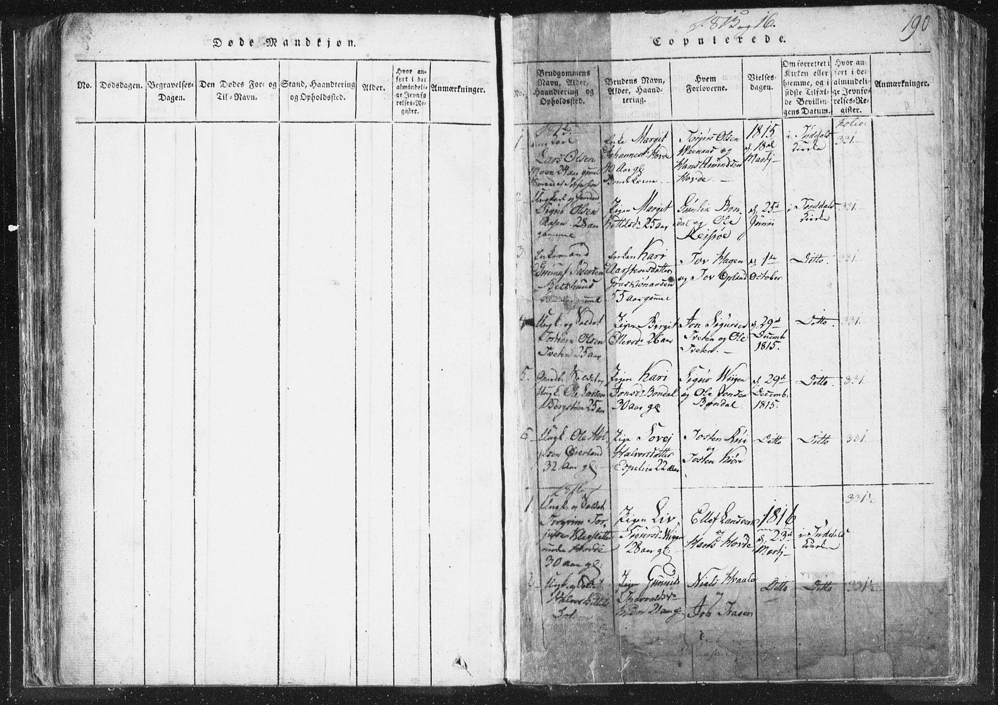 SAKO, Hjartdal kirkebøker, F/Fc/L0001: Ministerialbok nr. III 1, 1815-1843, s. 190