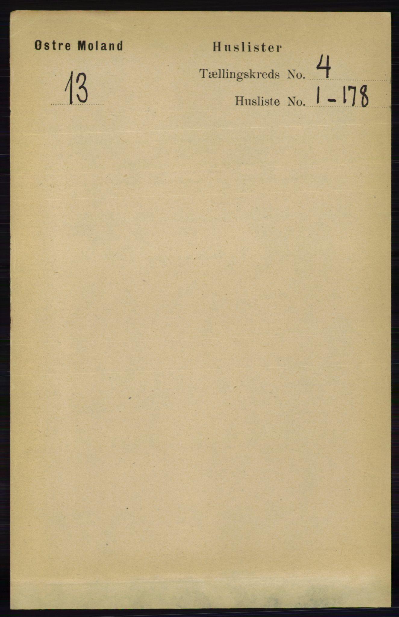 RA, Folketelling 1891 for 0918 Austre Moland herred, 1891, s. 1896