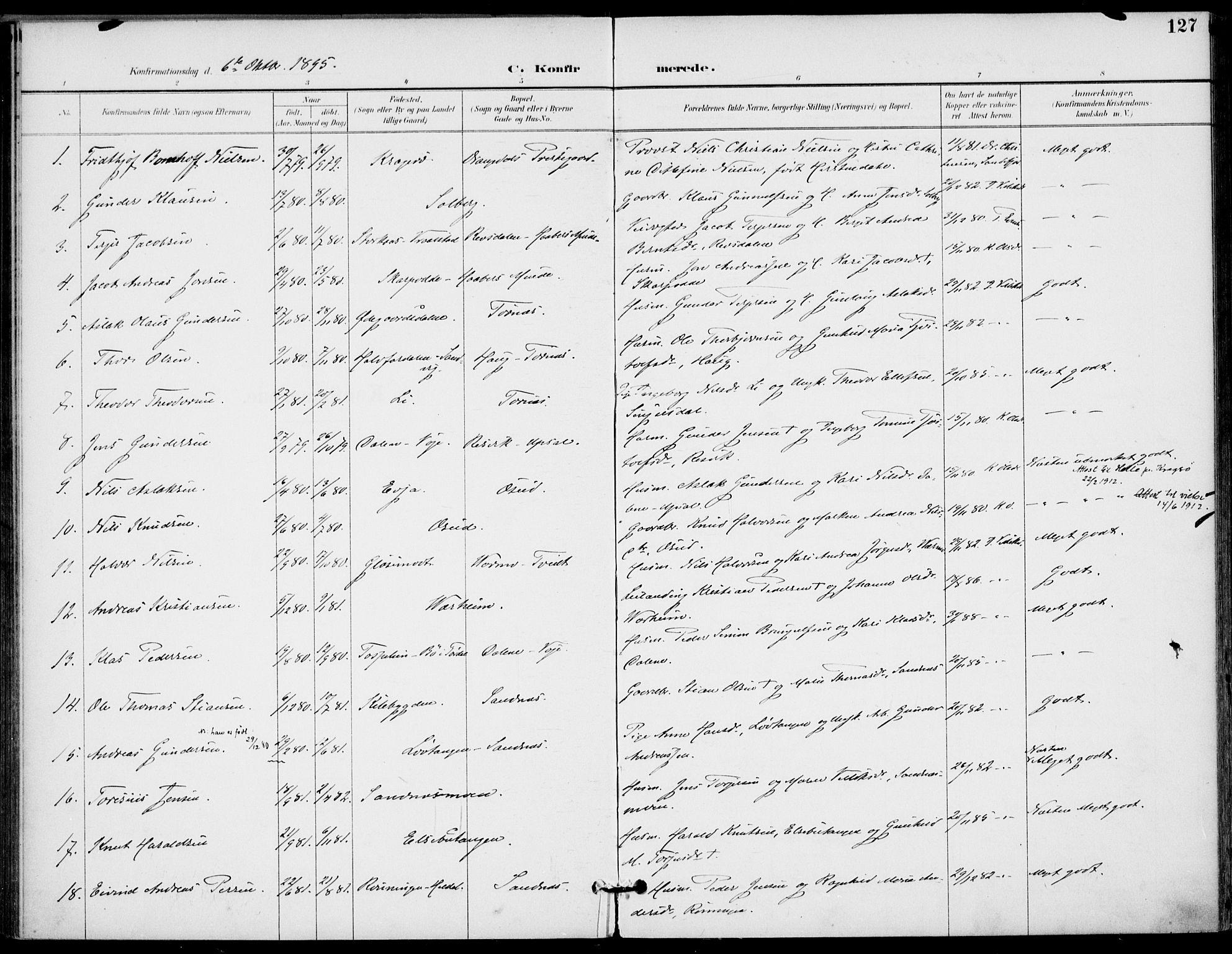 SAKO, Drangedal kirkebøker, F/Fa/L0012: Ministerialbok nr. 12, 1895-1905, s. 127