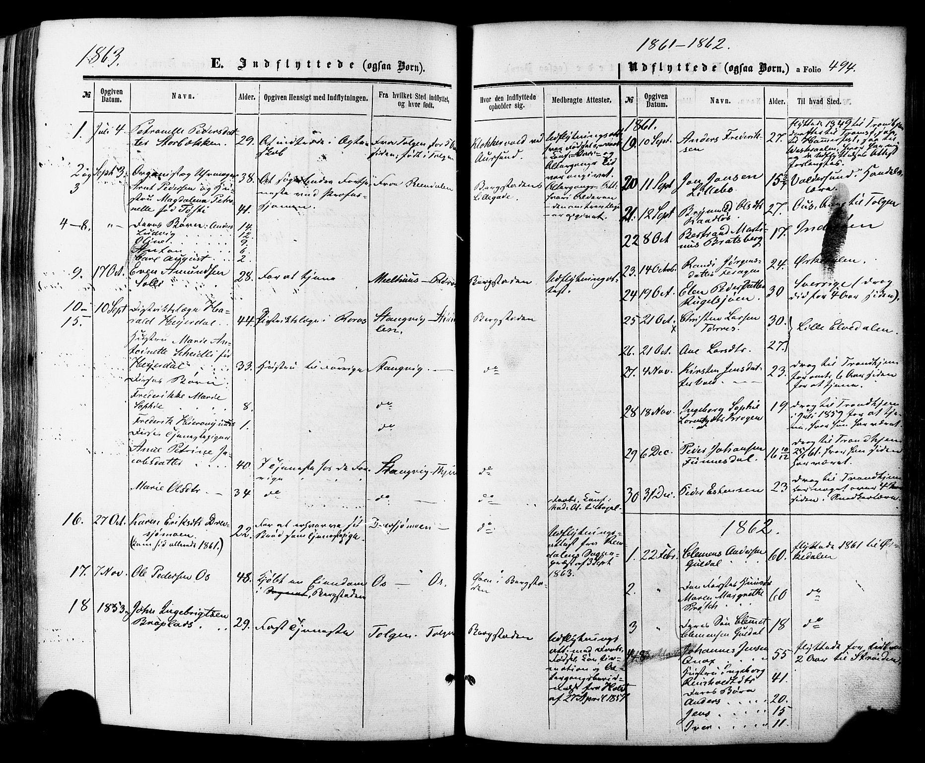 SAT, Ministerialprotokoller, klokkerbøker og fødselsregistre - Sør-Trøndelag, 681/L0932: Ministerialbok nr. 681A10, 1860-1878, s. 494