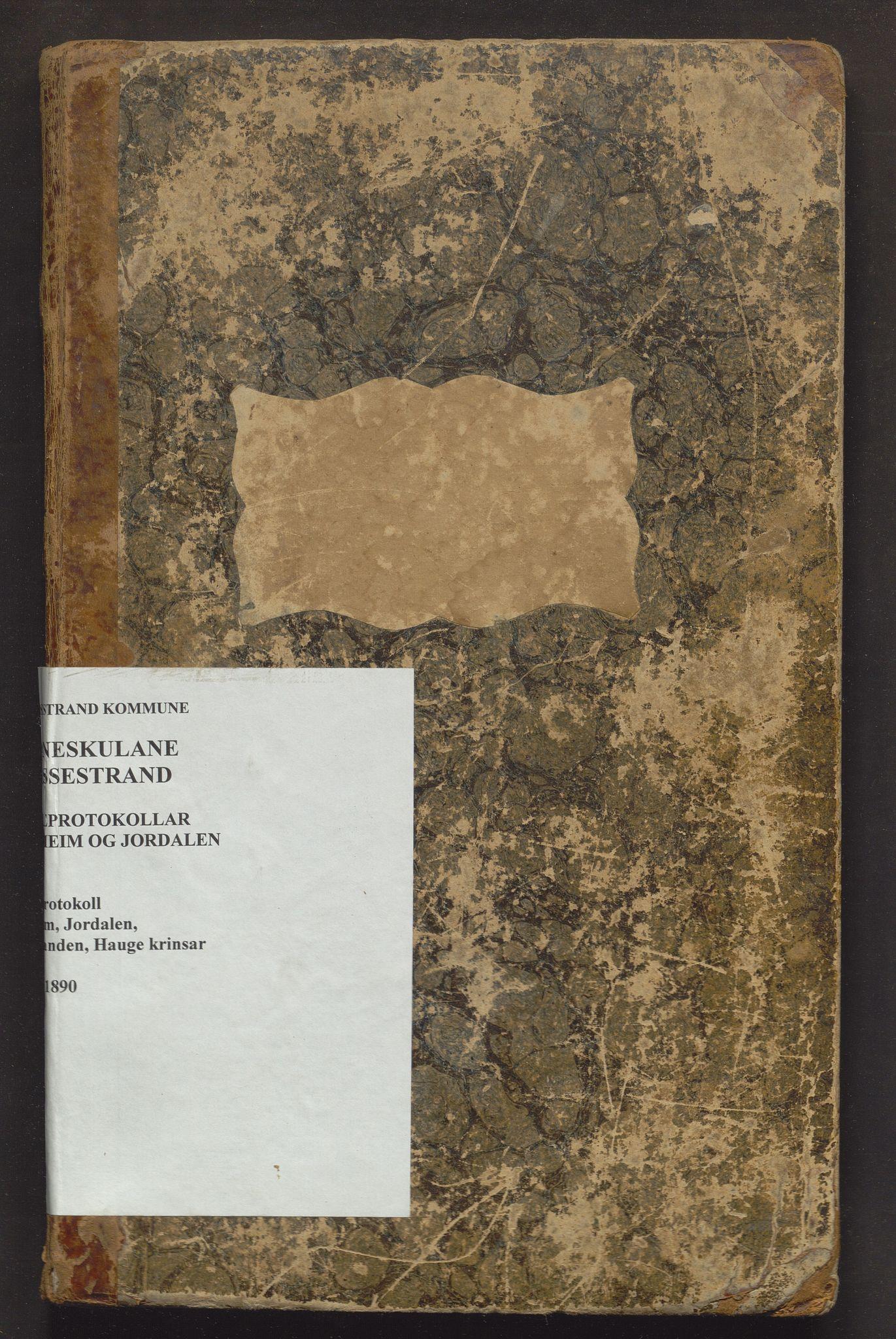 IKAH, Vossestrand kommune. Barneskulane , F/Fa/L0001: Skuleprotokoll for Stalheim, Jordalen, Hauge og Vasstranda krinsar, 1865-1890