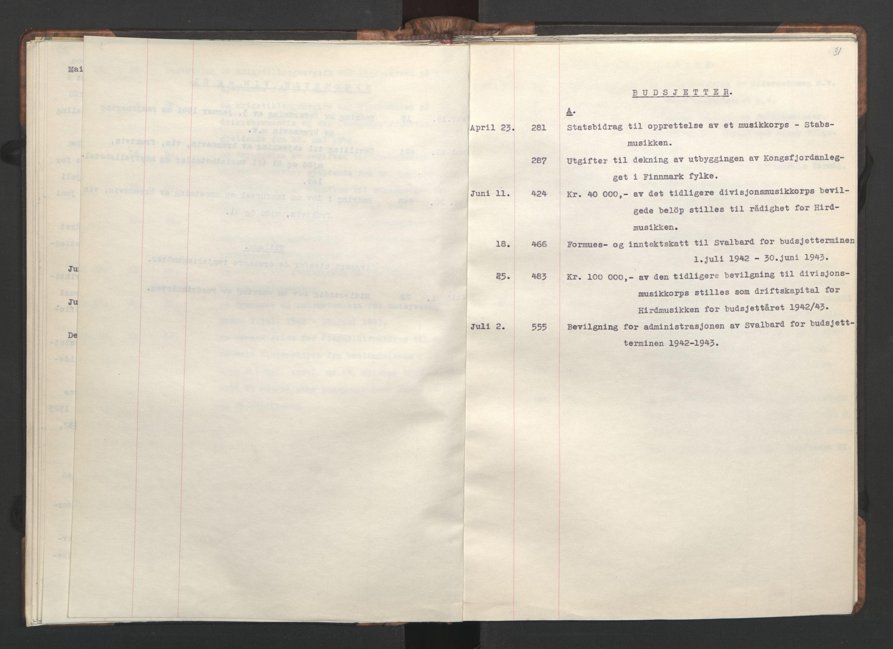 RA, NS-administrasjonen 1940-1945 (Statsrådsekretariatet, de kommisariske statsråder mm), D/Da/L0002: Register (RA j.nr. 985/1943, tilgangsnr. 17/1943), 1942, s. 30b-31a