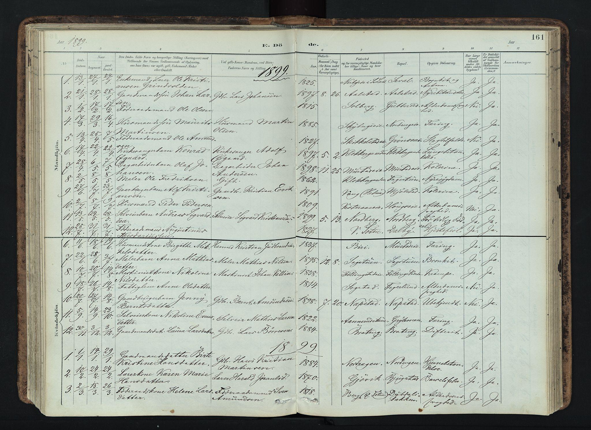 SAH, Vardal prestekontor, H/Ha/Haa/L0019: Ministerialbok nr. 19, 1893-1907, s. 161