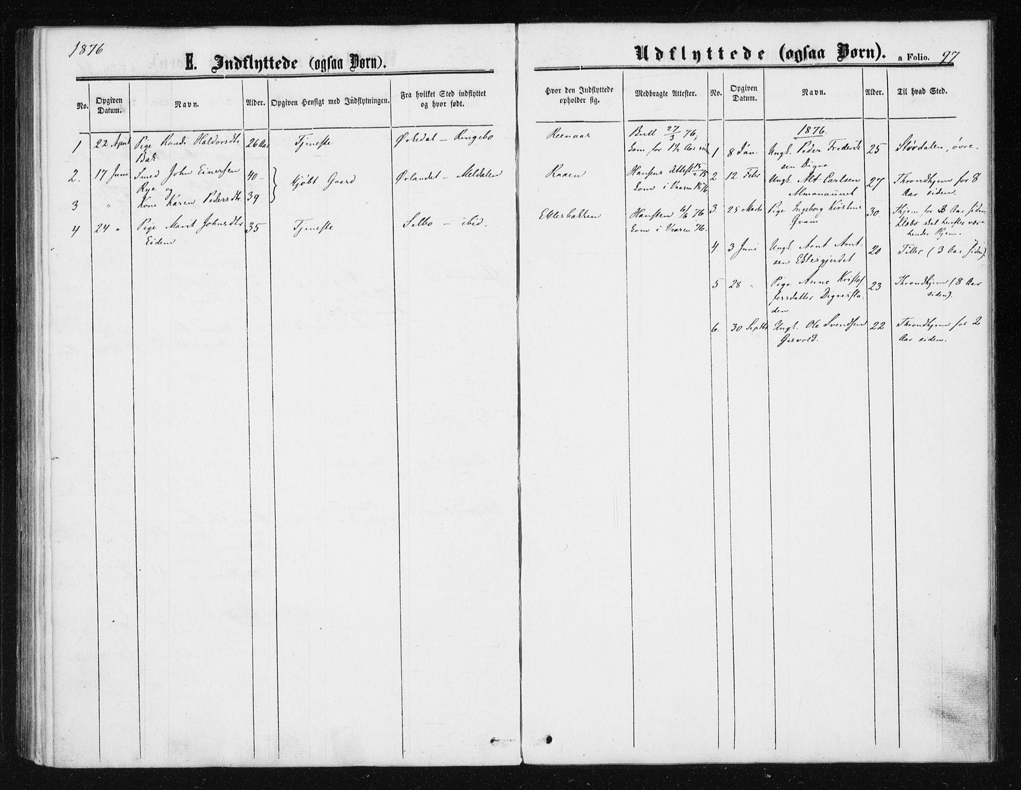 SAT, Ministerialprotokoller, klokkerbøker og fødselsregistre - Sør-Trøndelag, 608/L0333: Ministerialbok nr. 608A02, 1862-1876, s. 97