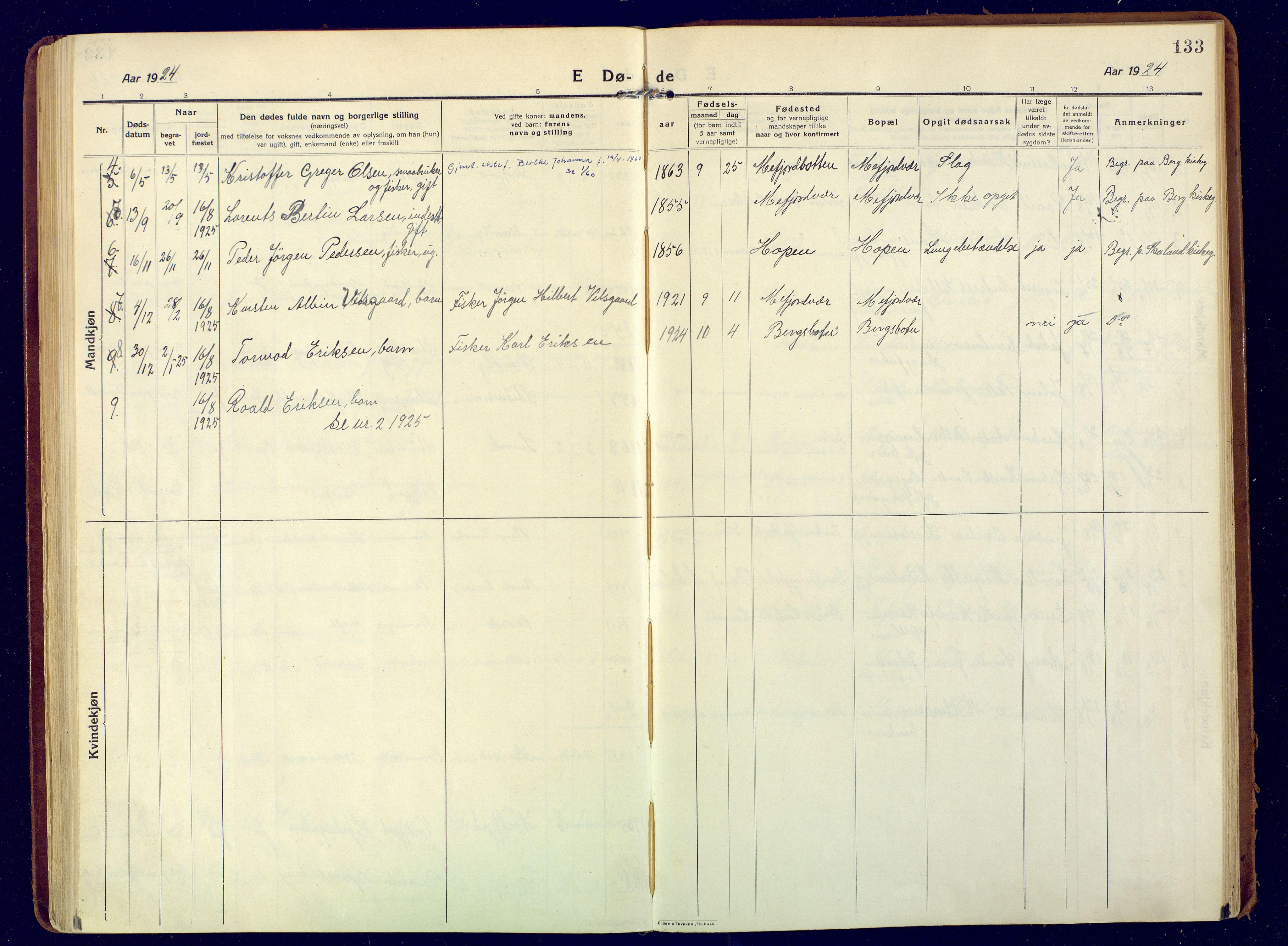SATØ, Mefjord/Berg sokneprestkontor, G/Ga/Gaa: Ministerialbok nr. 9, 1916-1928, s. 133