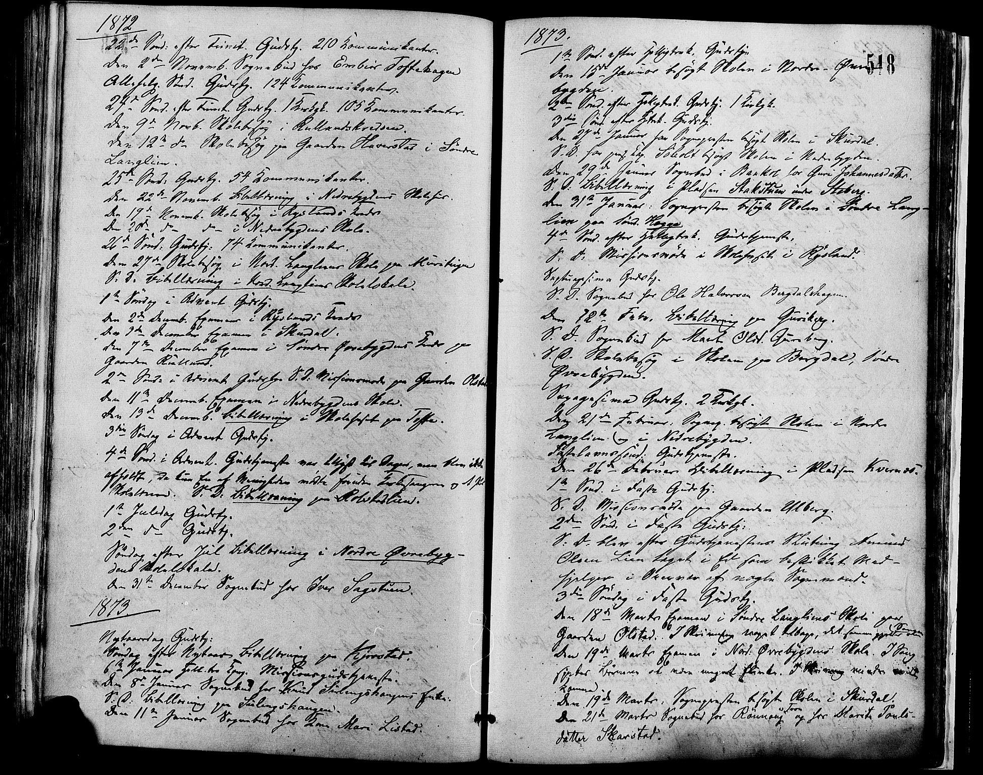 SAH, Sør-Fron prestekontor, H/Ha/Haa/L0002: Ministerialbok nr. 2, 1864-1880, s. 518