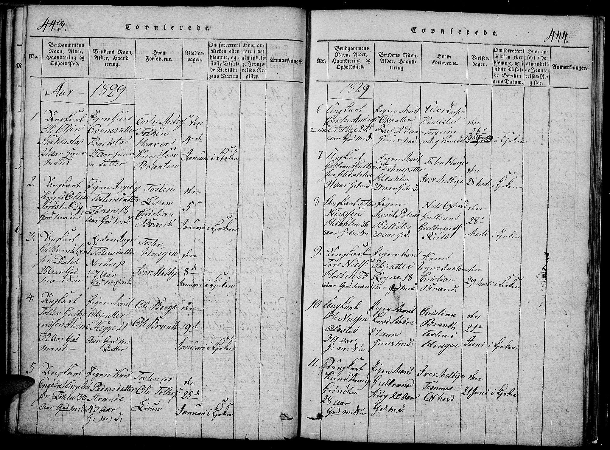 SAH, Slidre prestekontor, Klokkerbok nr. 2, 1814-1839, s. 443a-444a
