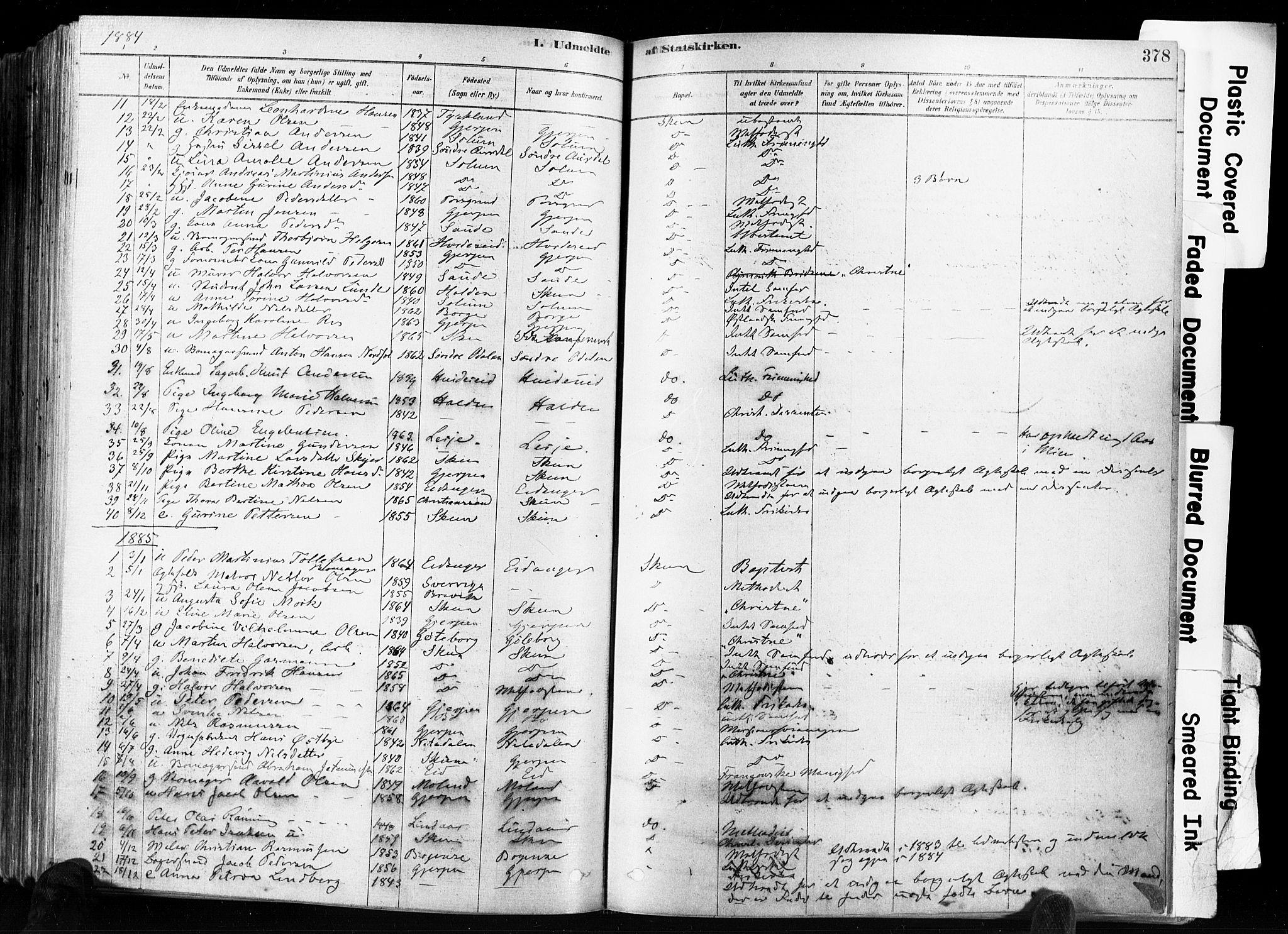 SAKO, Skien kirkebøker, F/Fa/L0009: Ministerialbok nr. 9, 1878-1890, s. 378