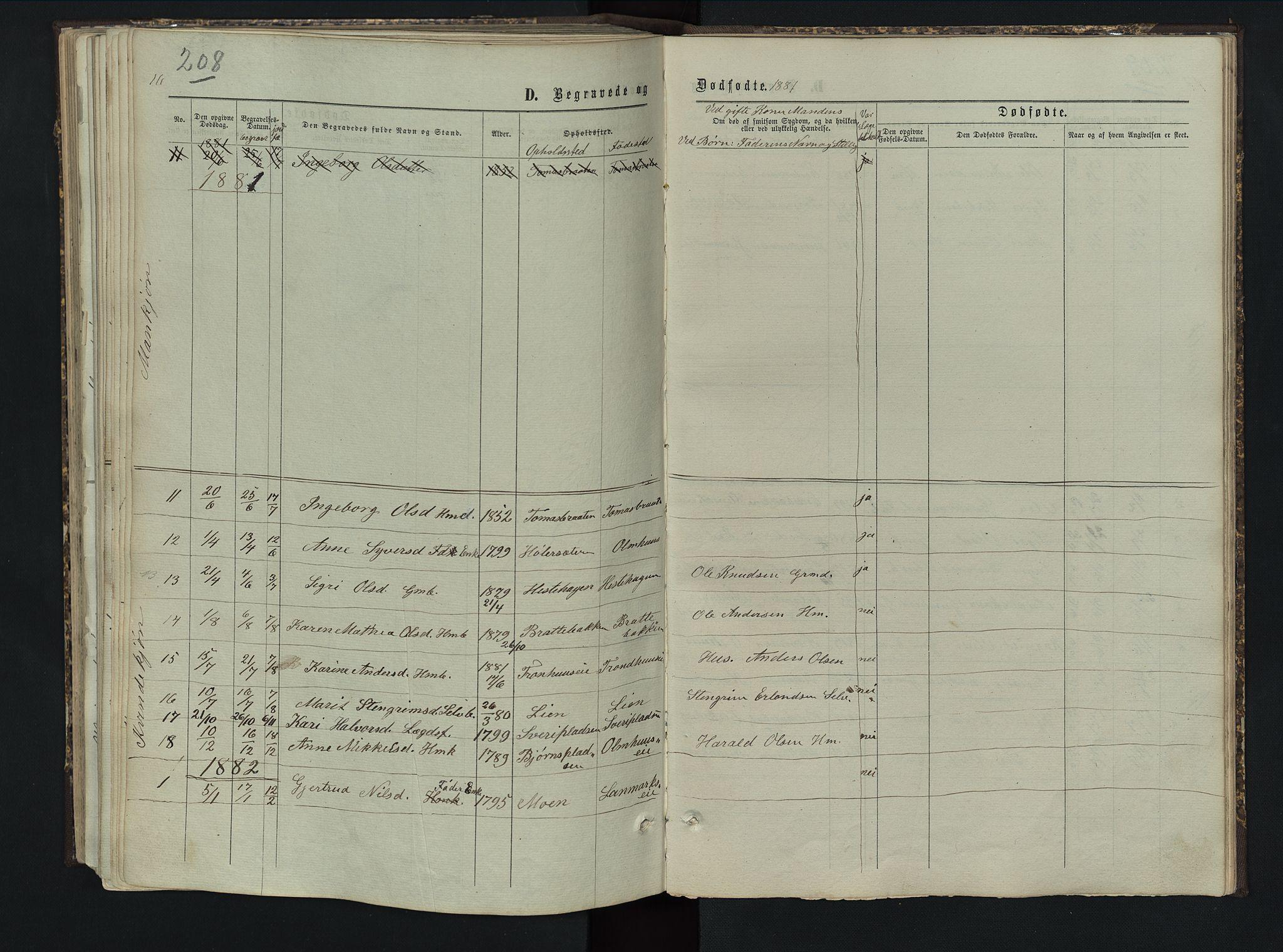SAH, Sør-Aurdal prestekontor, Klokkerbok nr. 5, 1866-1893, s. 208