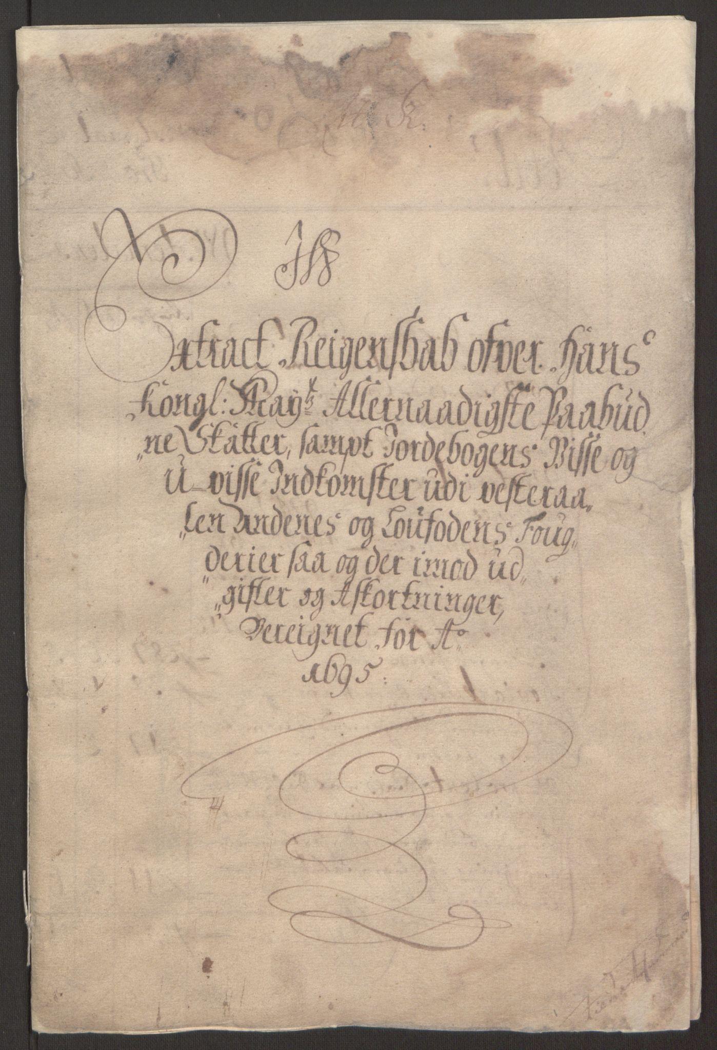 RA, Rentekammeret inntil 1814, Reviderte regnskaper, Fogderegnskap, R67/L4677: Fogderegnskap Vesterålen, Andenes og Lofoten, 1694-1695, s. 169