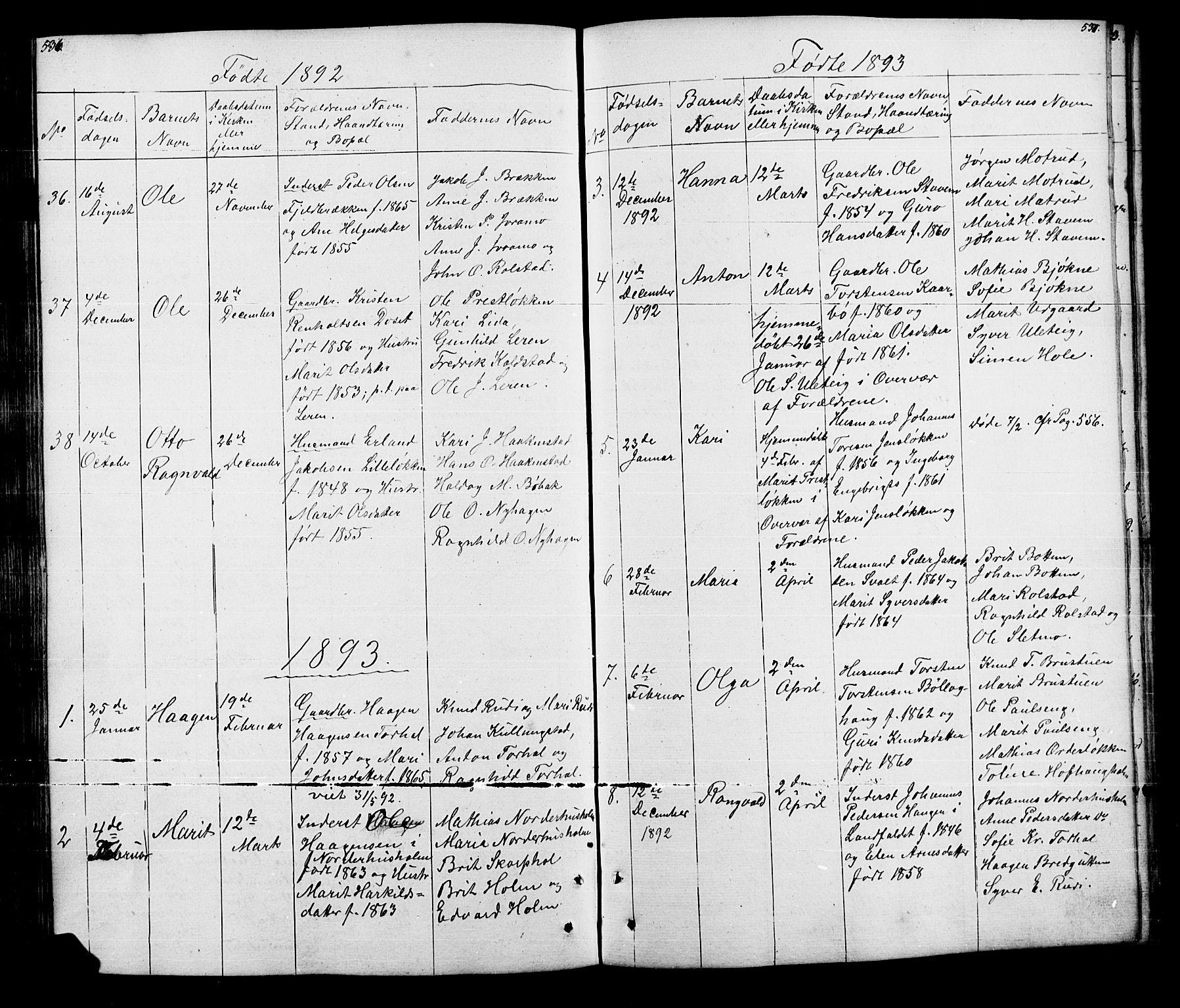 SAH, Lesja prestekontor, Klokkerbok nr. 5, 1850-1894, s. 536-537