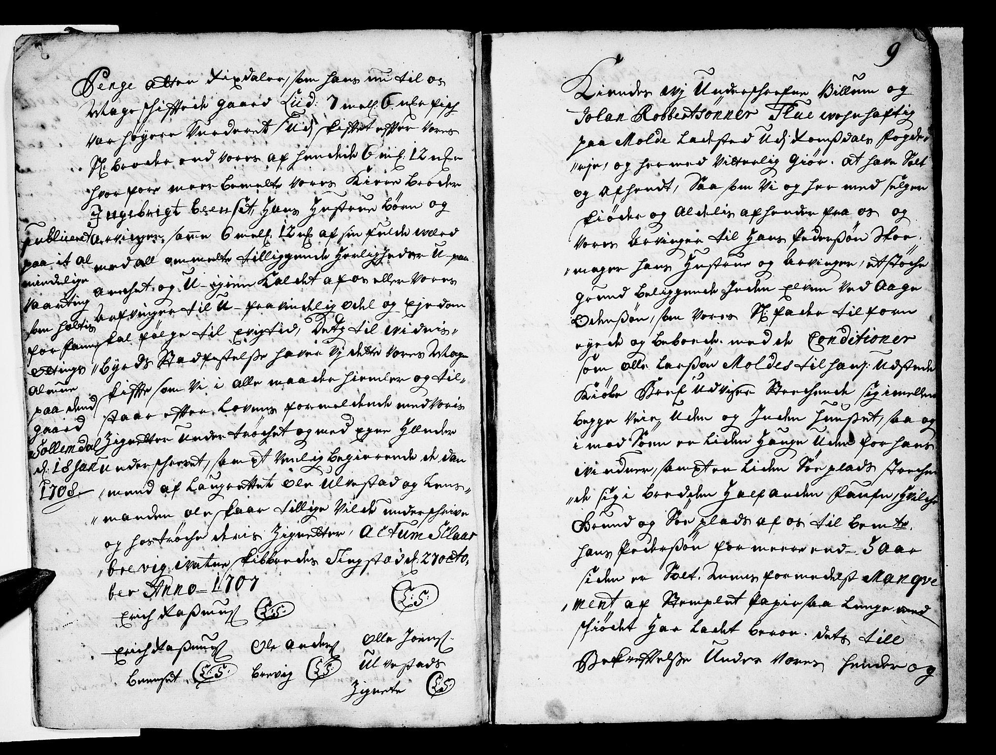 SAT, Romsdal sorenskriveri, 2/2C/L0001: Pantebok nr. 1, 1706-1724, s. 9