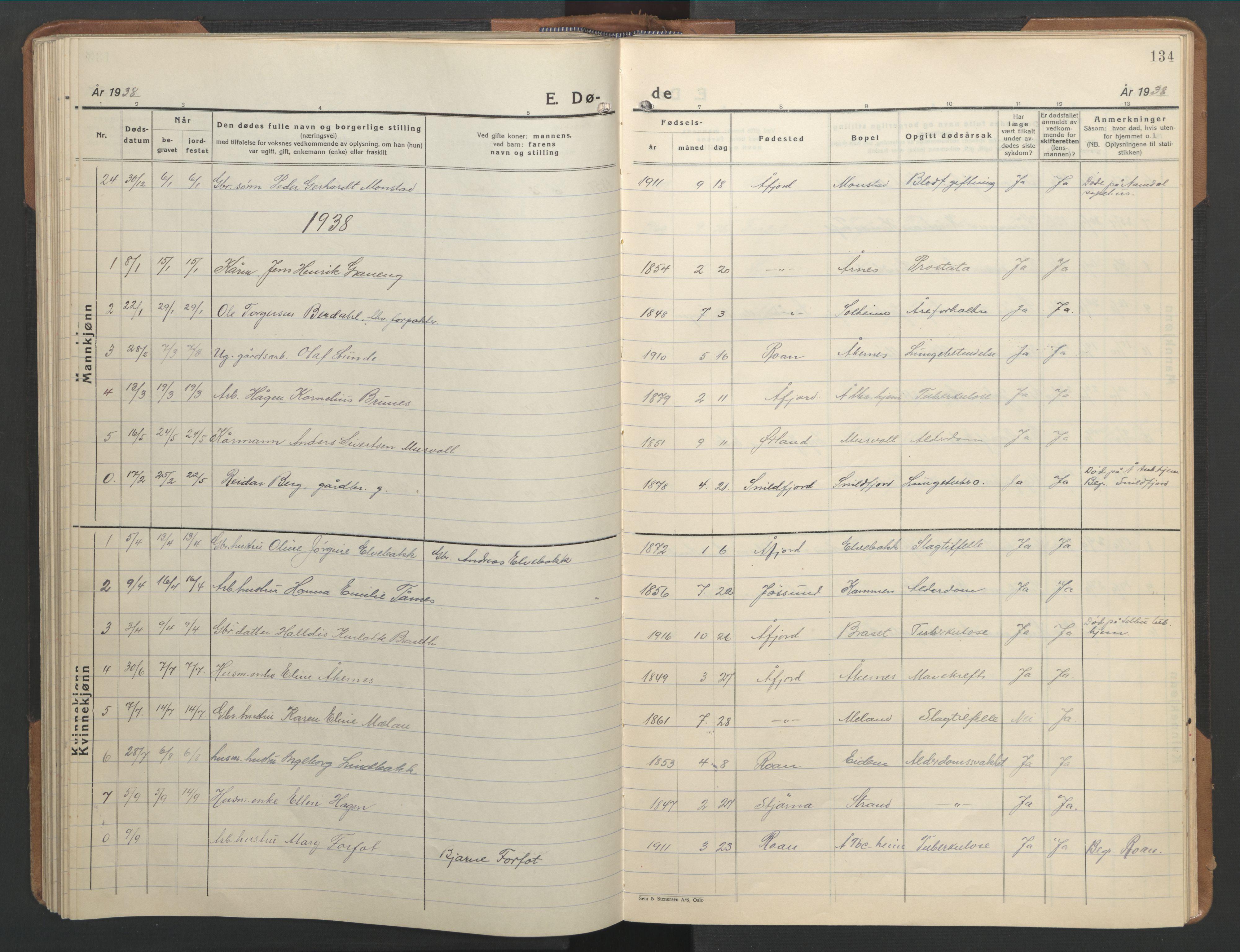 SAT, Ministerialprotokoller, klokkerbøker og fødselsregistre - Sør-Trøndelag, 655/L0690: Klokkerbok nr. 655C06, 1937-1950, s. 134