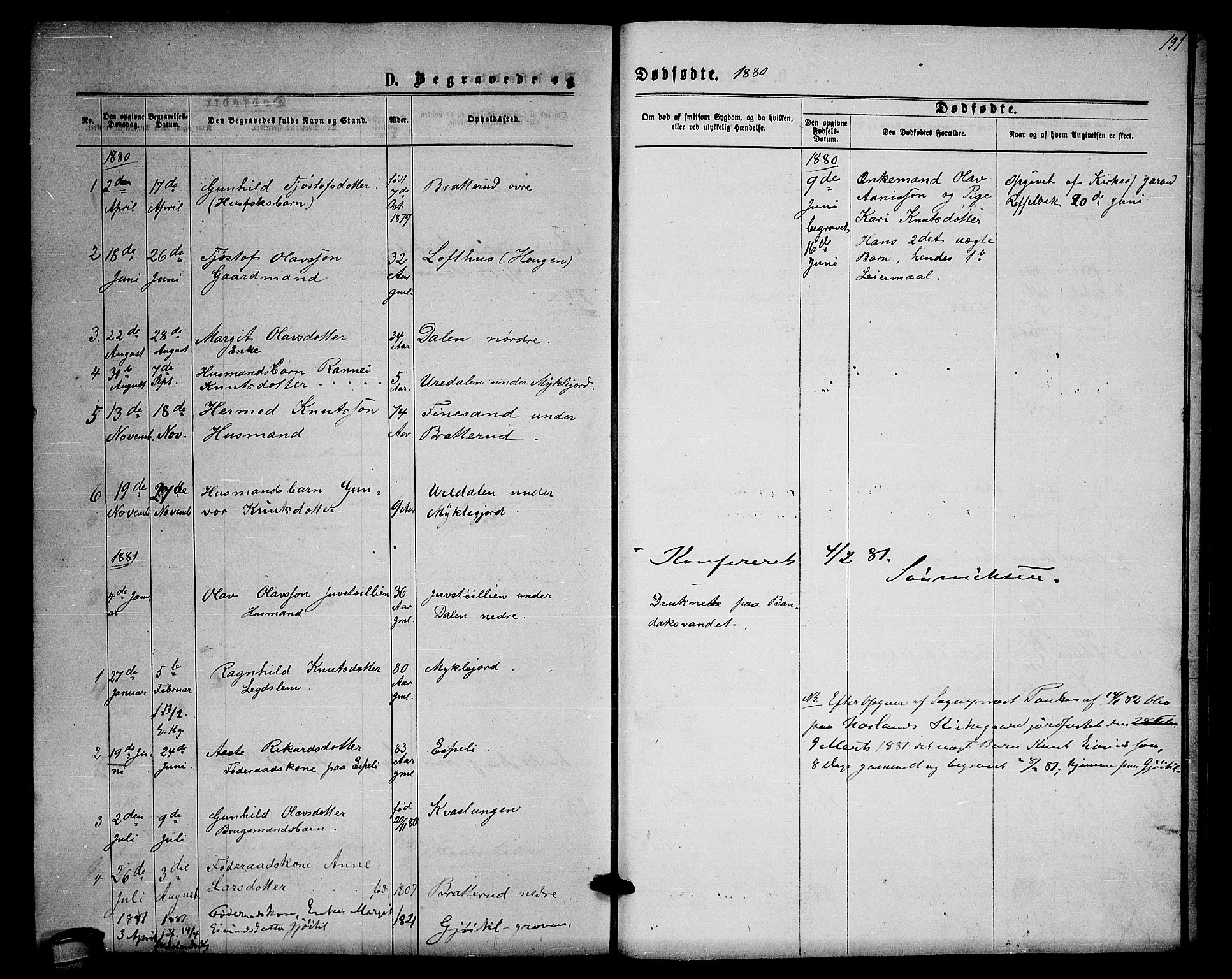 SAKO, Lårdal kirkebøker, G/Gb/L0002: Klokkerbok nr. II 2, 1865-1888, s. 191