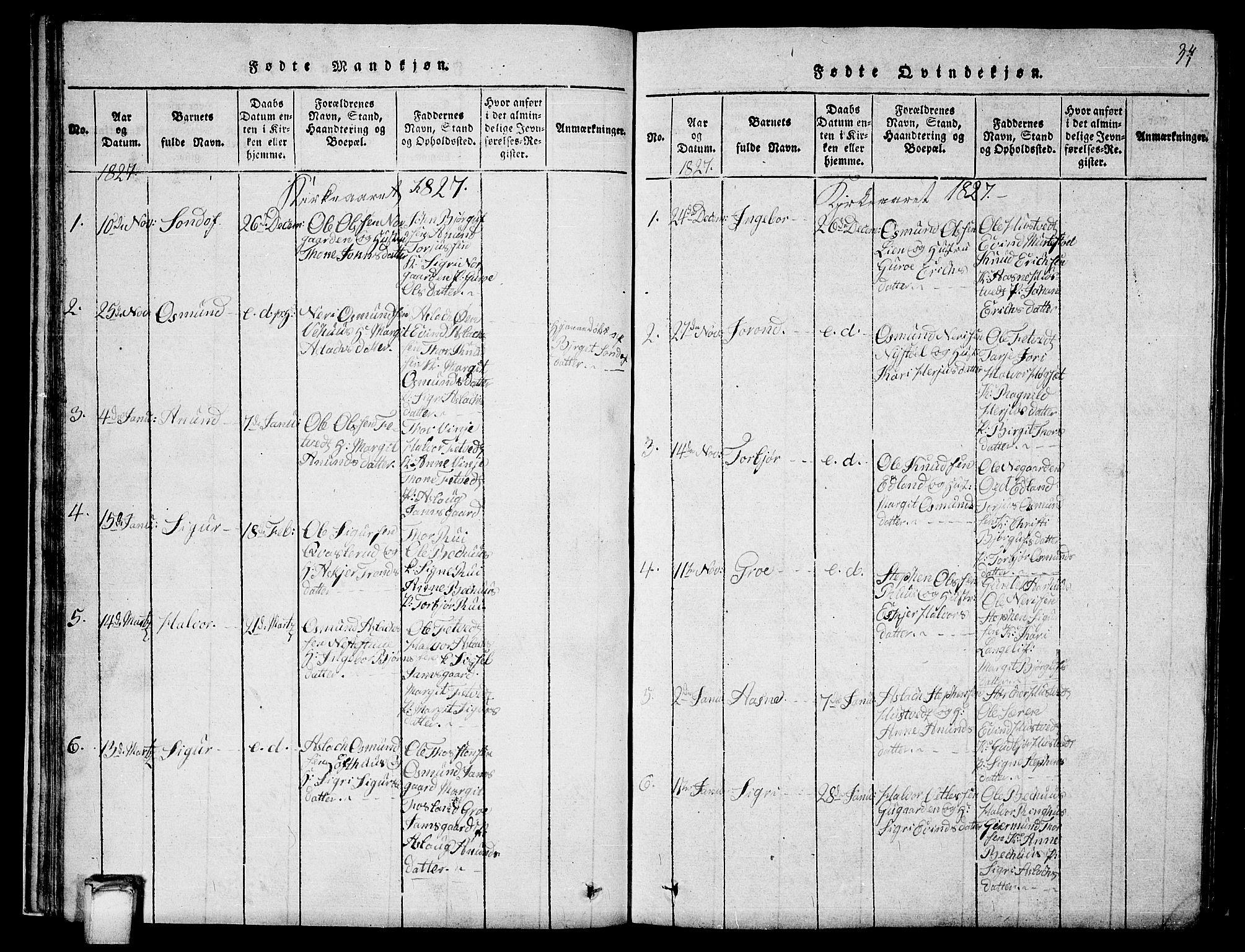 SAKO, Vinje kirkebøker, G/Ga/L0001: Klokkerbok nr. I 1, 1814-1843, s. 34