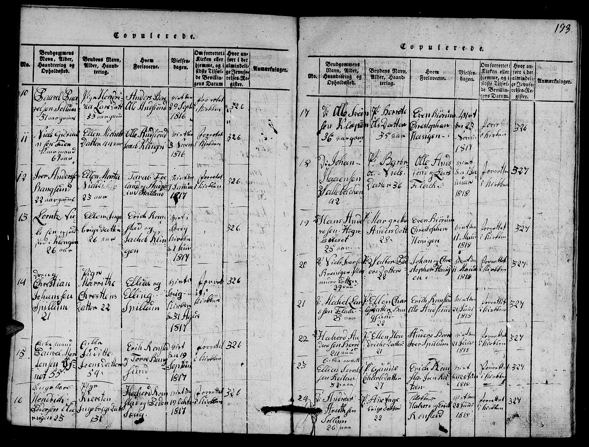 SAT, Ministerialprotokoller, klokkerbøker og fødselsregistre - Nord-Trøndelag, 770/L0590: Klokkerbok nr. 770C01, 1815-1824, s. 193